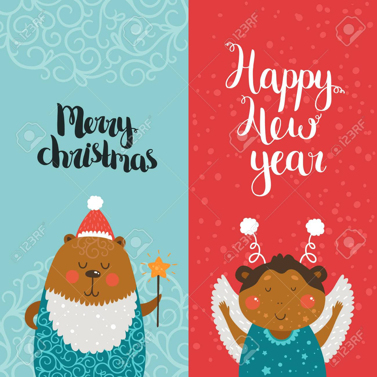 Merry Christmas And Happy New Year Cards With Cute Animals, Bear - Free Printable Happy New Year Cards