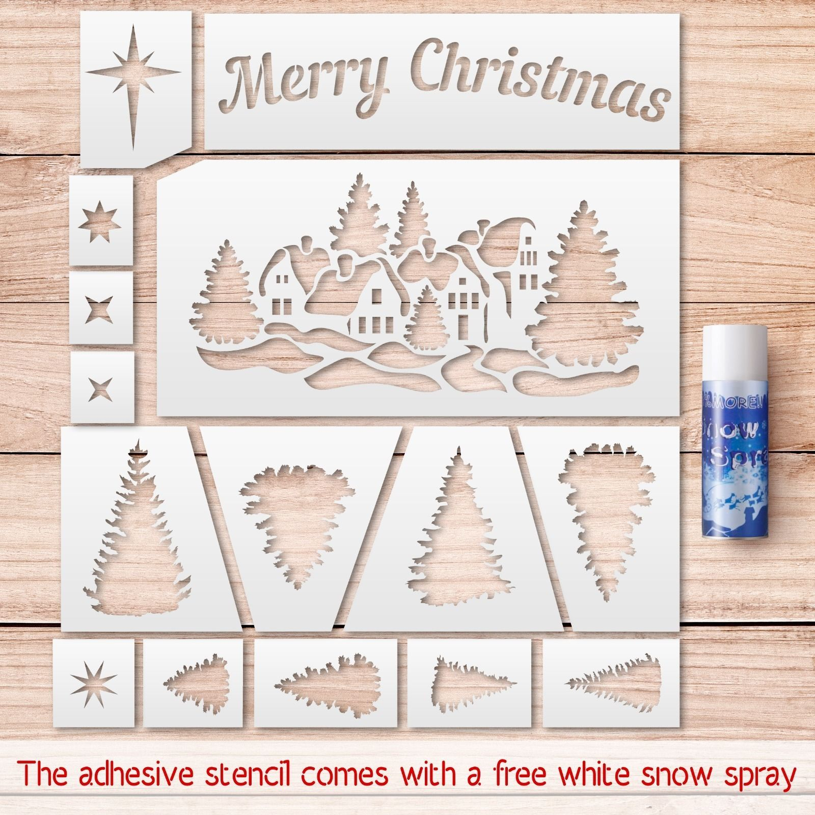 Merry Christmas Stencils Kit. Stencils For Windows Decoration. +Free - Merry Christmas Stencil Free Printable