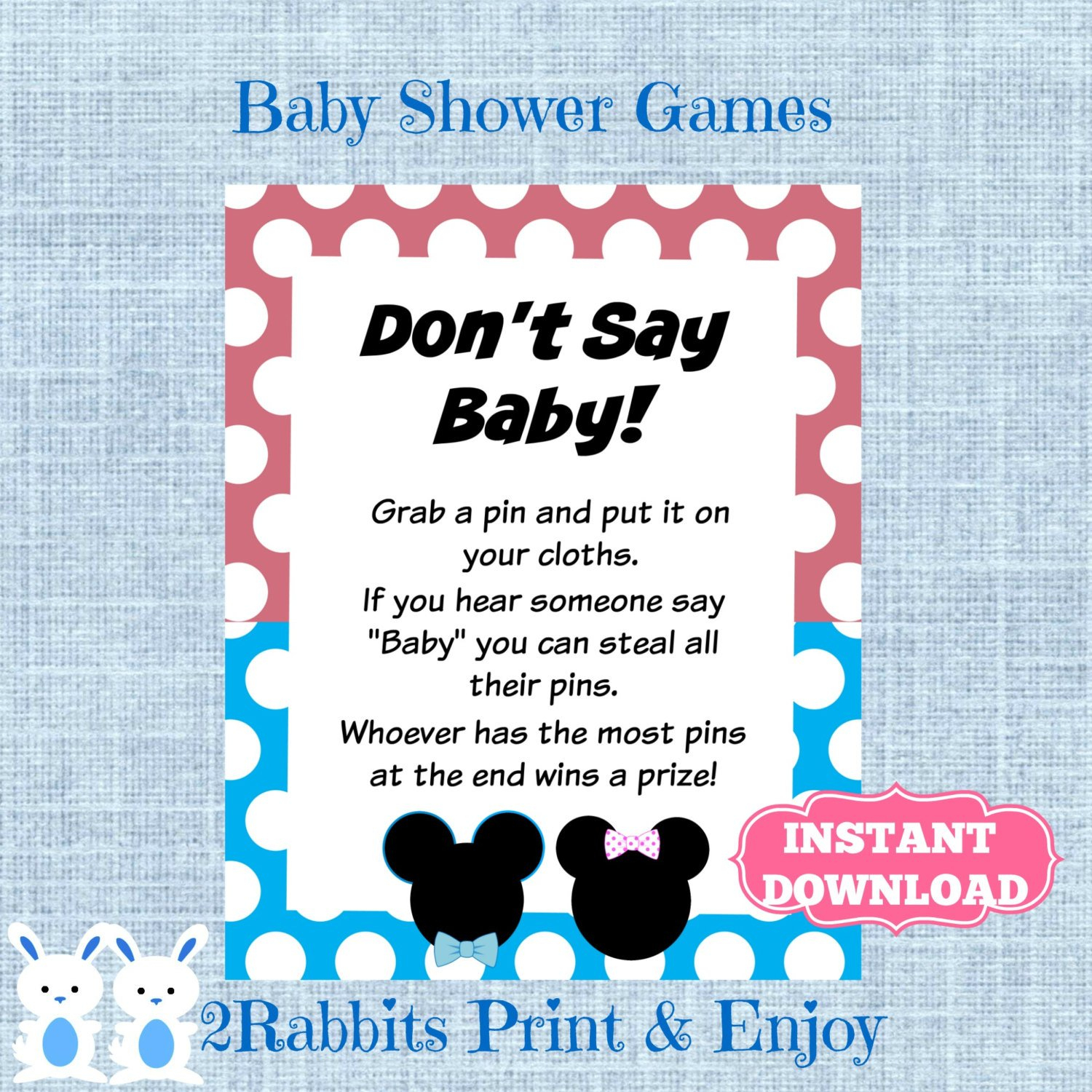 Mickey And Minnie Mouse Twins Don't Say Baby Game-Gender | Etsy - Free Printable Mickey Mouse Baby Shower Games