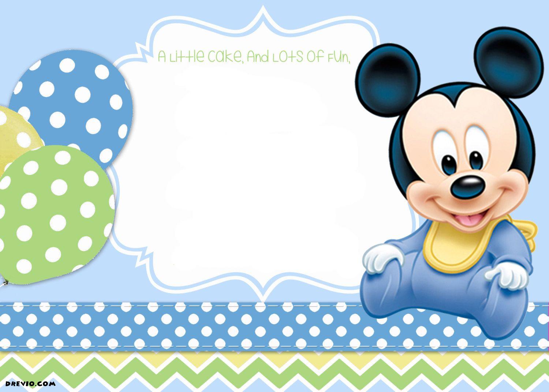 Mickey Mouse 1St Birthday   Tiago's Birthday   Mickey Mouse Baby - Free Printable Baby Mickey Mouse Birthday Invitations