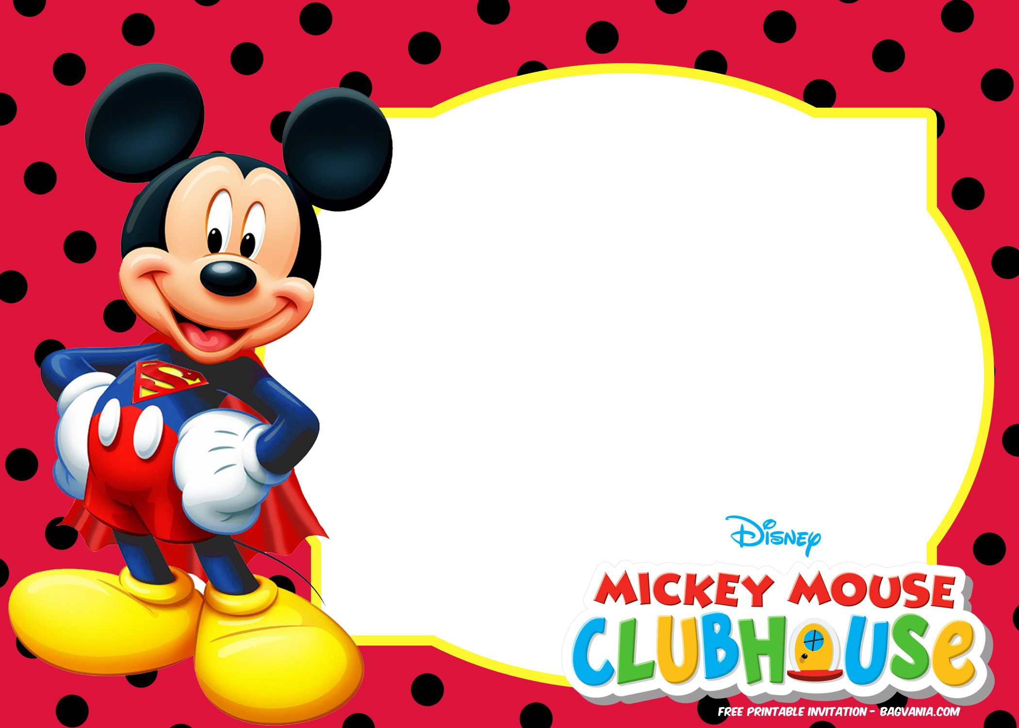 Mickey Mouse Polka Dot Invitation Templates | Cards - Sayings - Free Printable Mickey Mouse Invitations