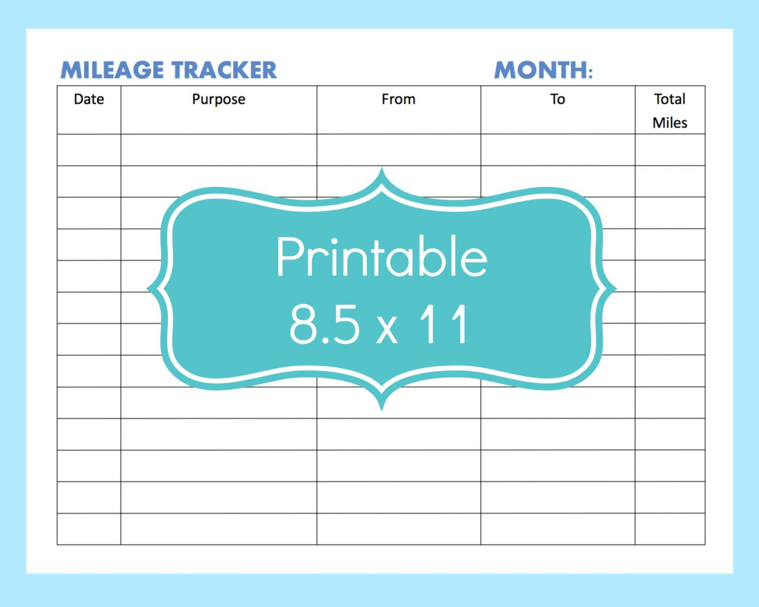 Mileage Tracker Form Printable, Printable Mileage Tracker, Mileage - Free Printable Mileage Log