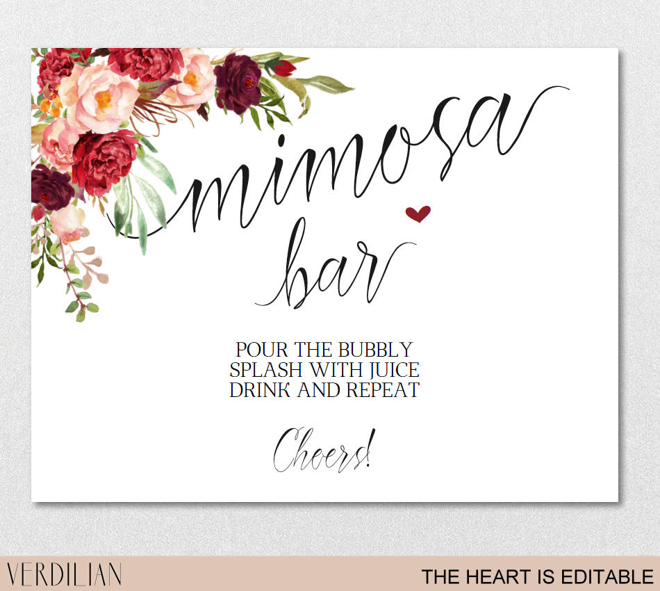 Mimosa Bar Sign Brunch And Bubbly Bar Signage Champagne | Etsy - Free Printable Mimosa Bar Sign