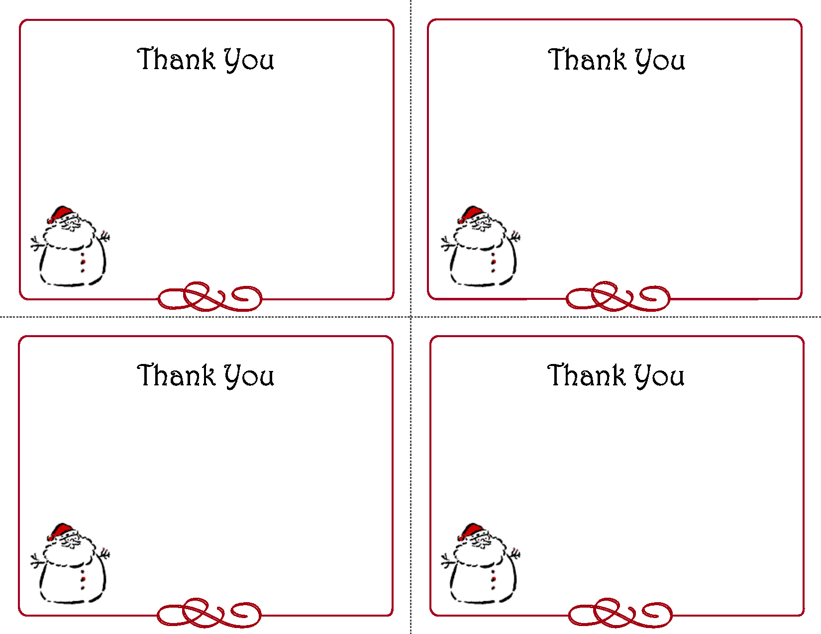 Mini Thank You Card Template - Thank You Card Free Printable Template