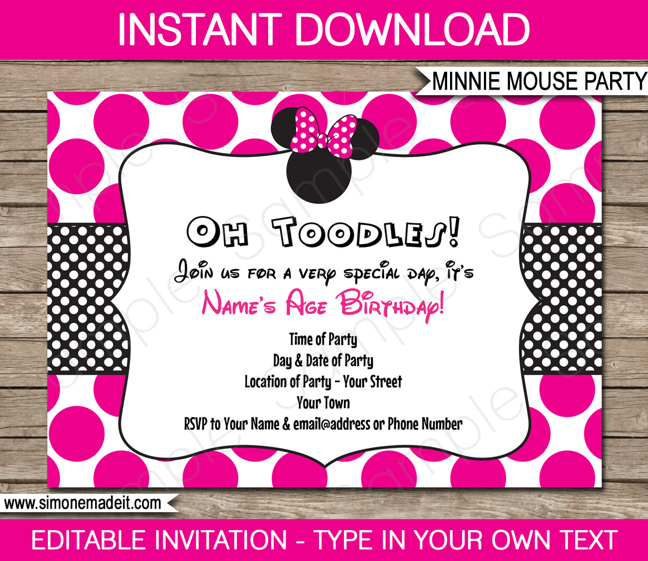 Minnie Mouse Party Invitations Template | Birthday Party - Free Printable Minnie Mouse Party Invitations