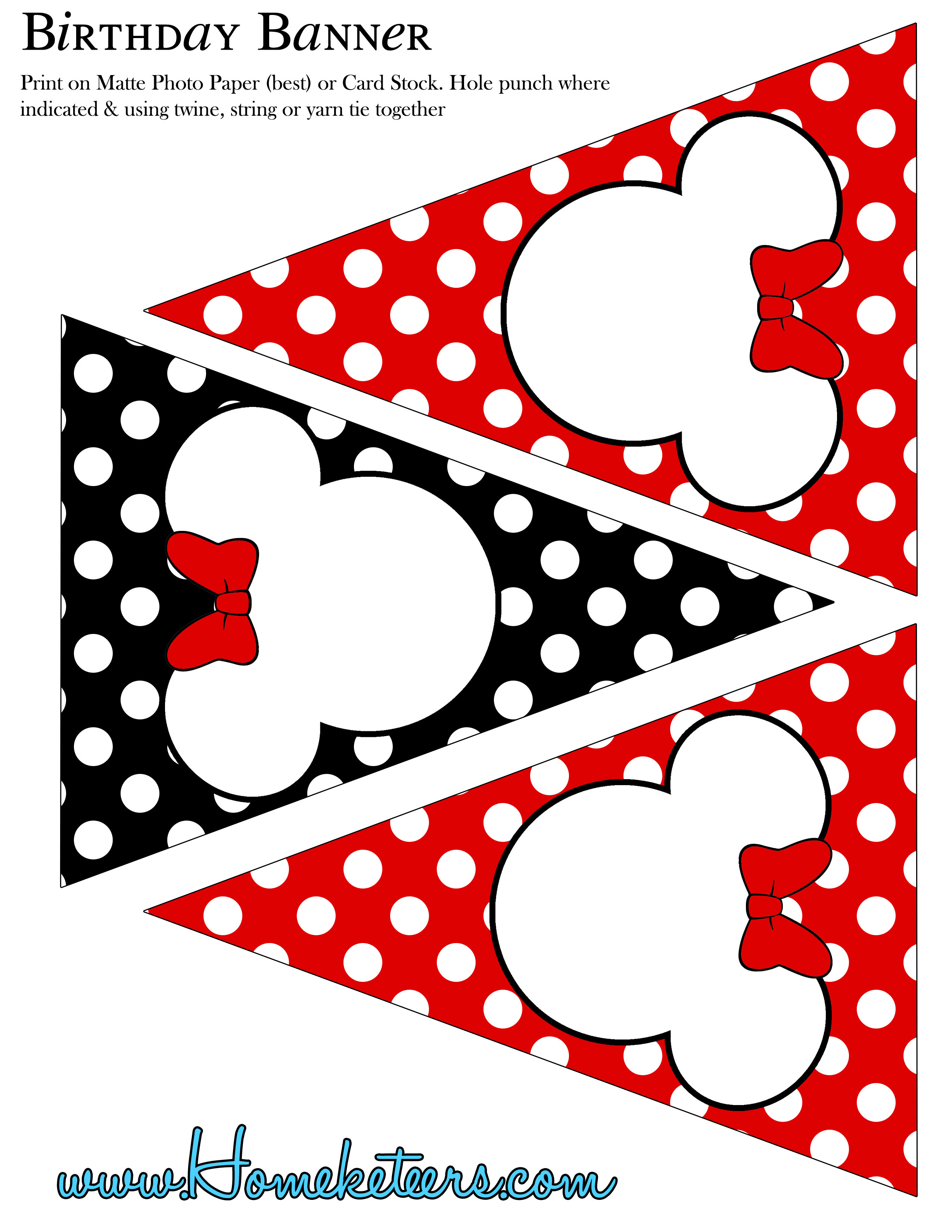 Minnie Mouse Party Printable Kit – Red {Free} - Free Printable Mickey Mouse Birthday Banner