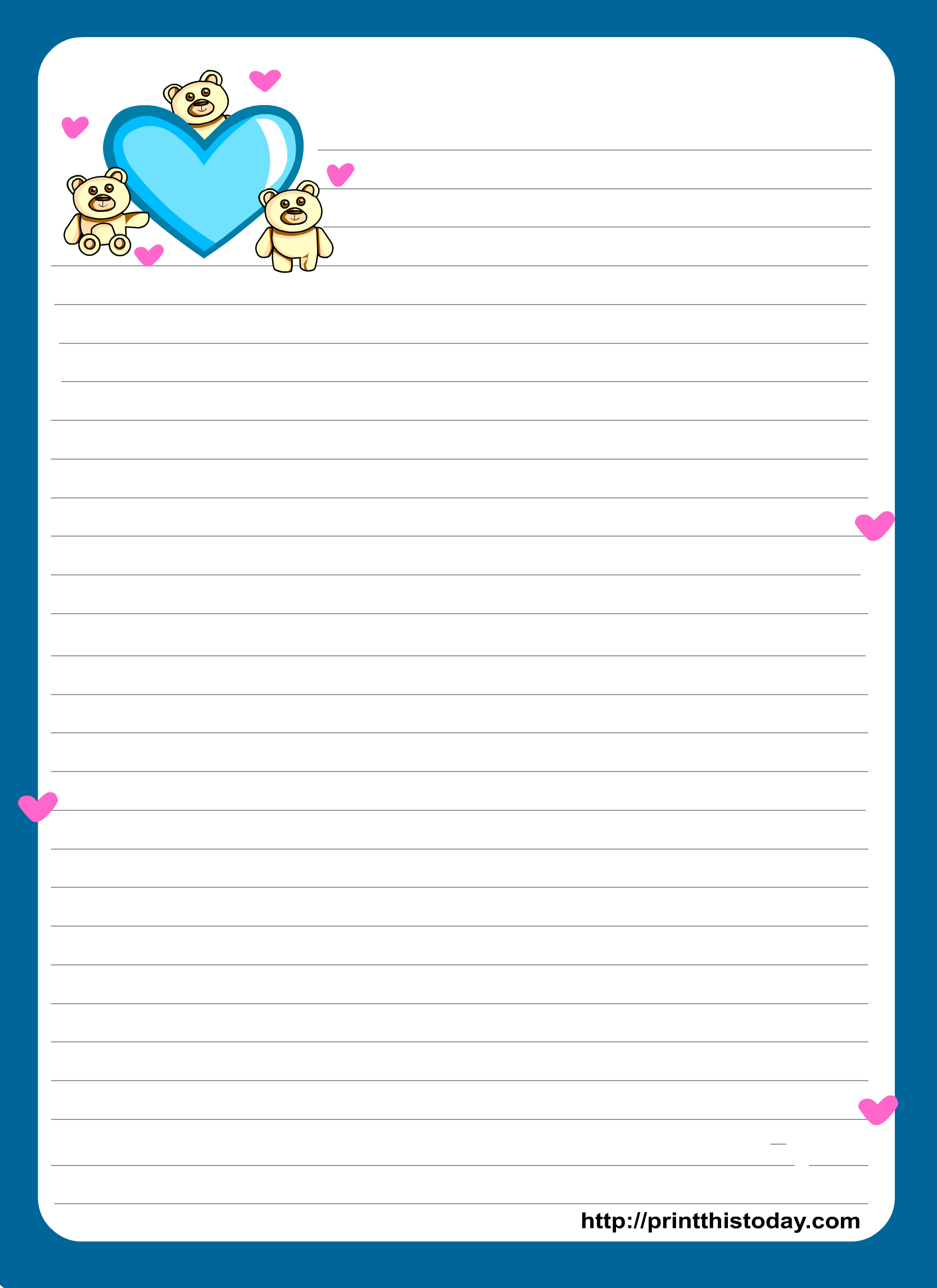 Miss You Love Letter Pad Stationery | Lined Stationery | Free - Free Printable Stationary Pdf