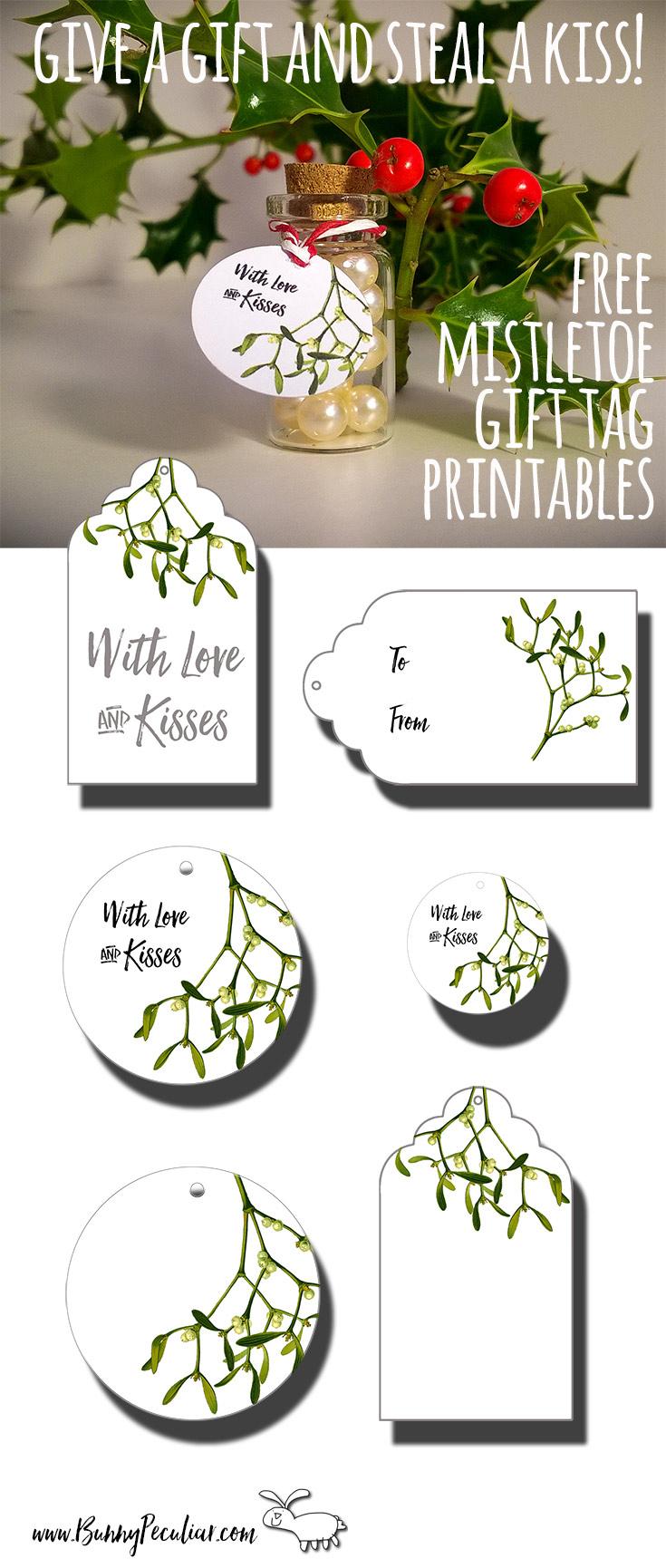 Mistletoe Gift Tags - Bunny Peculiar - Free Printable Mistletoe Tags