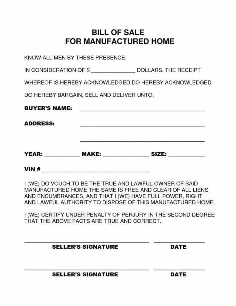 Mobile Home Bill Of Sale Template Alabama Beautiful Sample - Free Printable Mobile Home Bill Of Sale