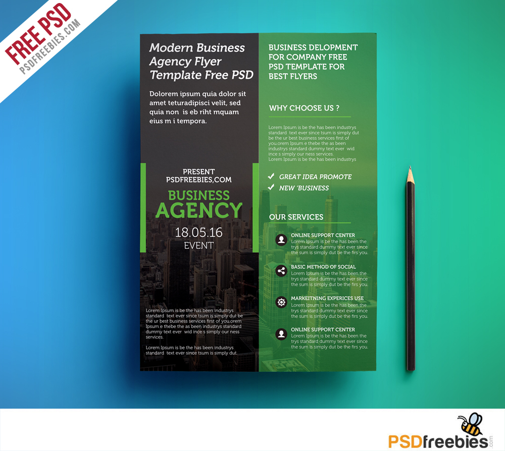 Modern Business Agency Flyer Template Free Psd | Psdfreebies - Business Flyer Templates Free Printable