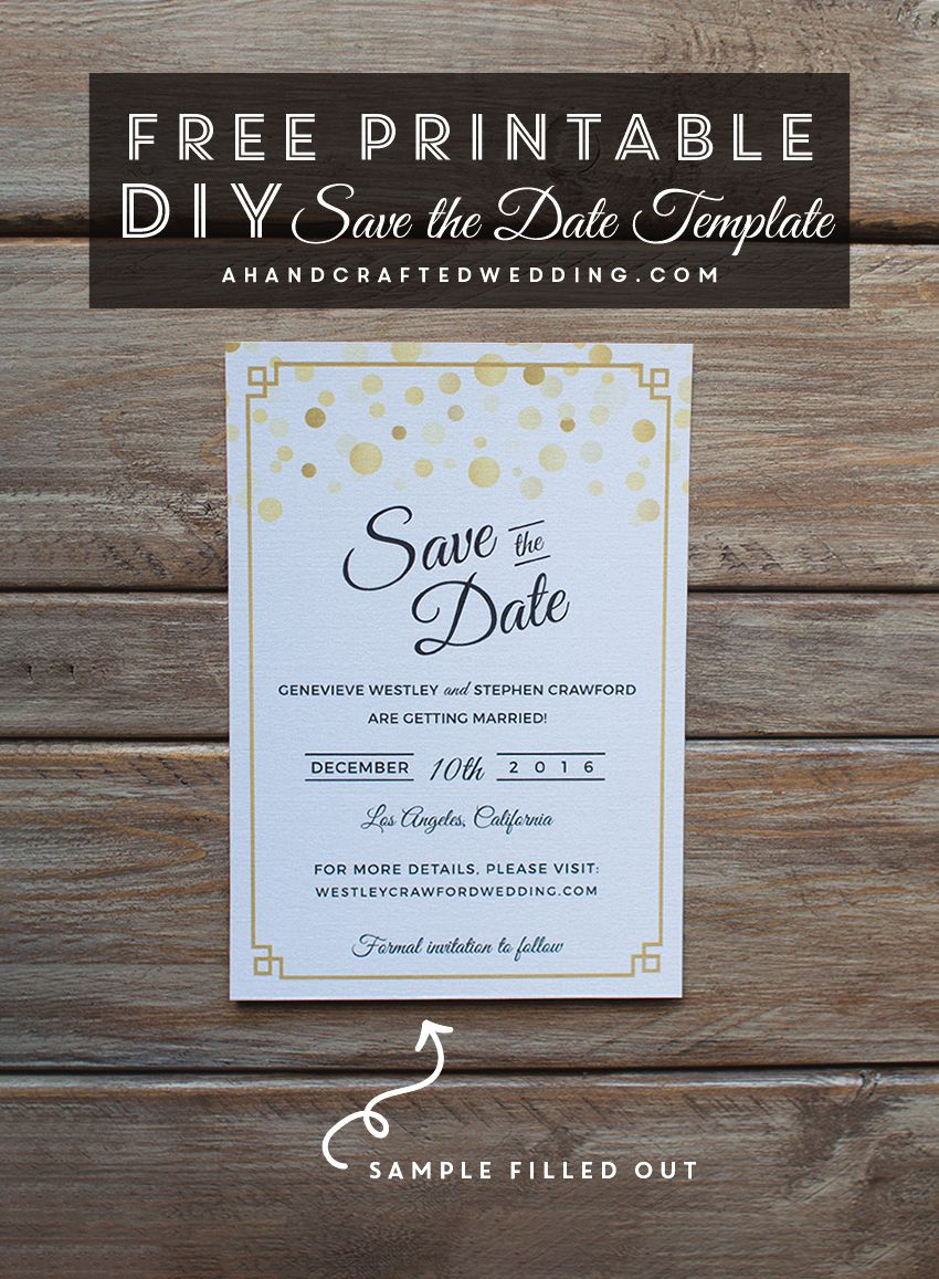 Modern Diy Save The Date Free Printable | | Free Wedding Printables - Free Printable Save The Date