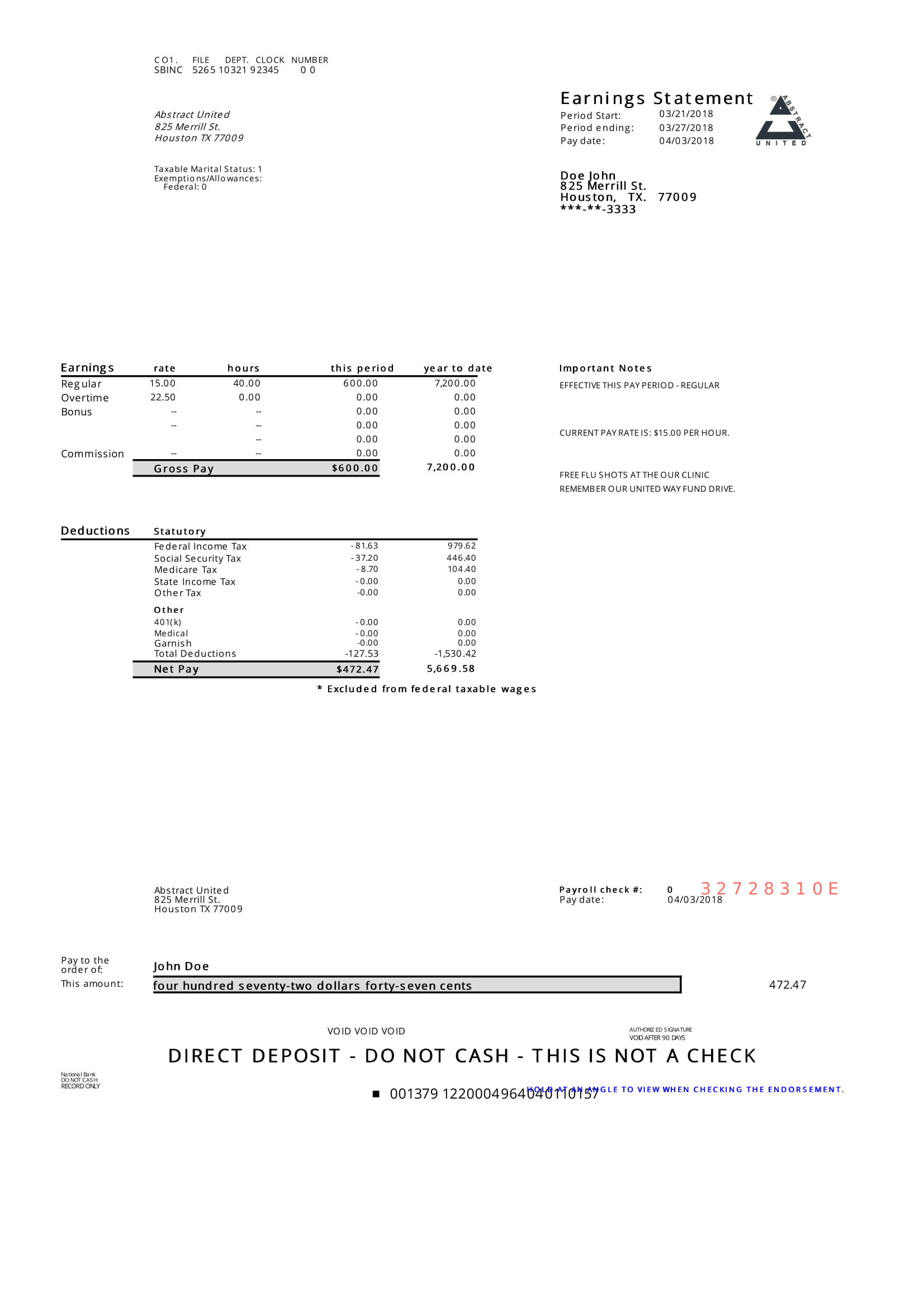 Modern Pay Stub Sample - Paycheck Stub Online - Free Printable Pay Stubs Online