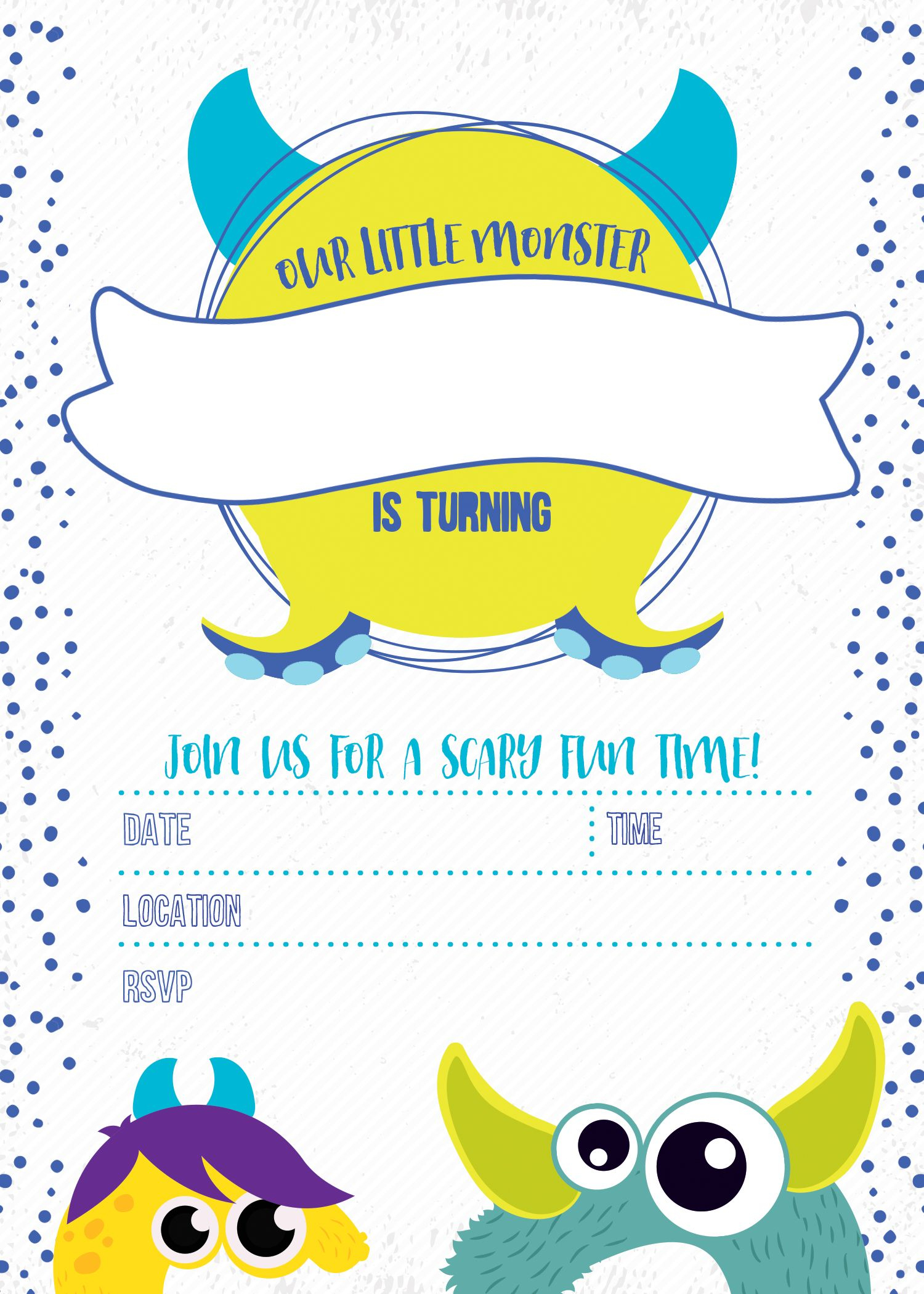 Monster Birthday Invitation Free Printable In 2019 | You Are My - Free Stork Party Invitations Printable