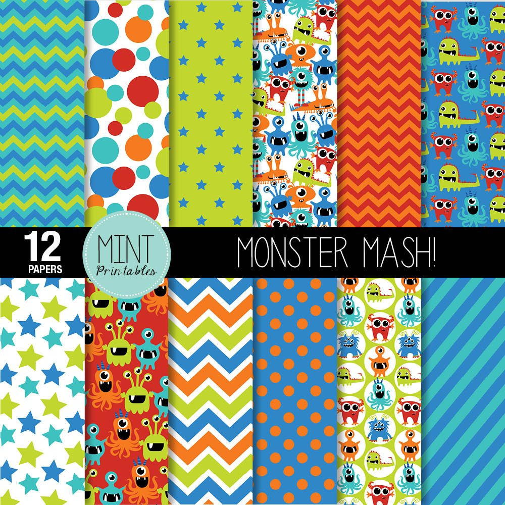 Monster Digital Paper Monsters Scrapbooking Paper Party | Etsy - Free Printable Pattern Paper Sheets