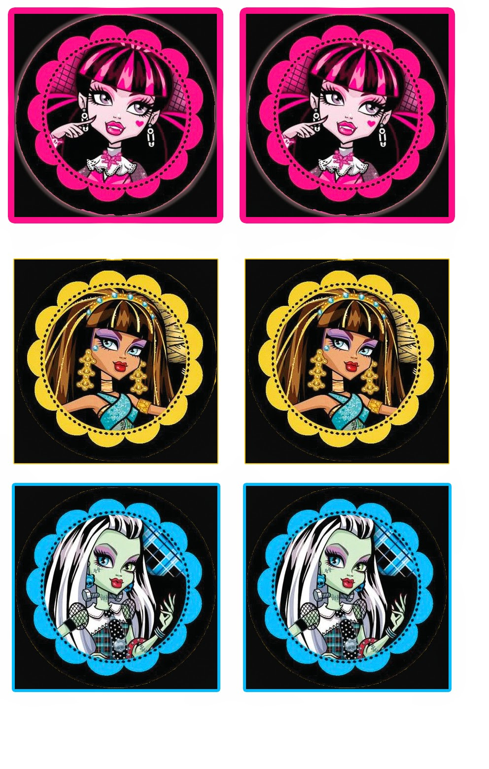 Monster High: Free Printable Cupcake Toppers And Wrappers. | Oh My - Free Printable Monster High Stickers
