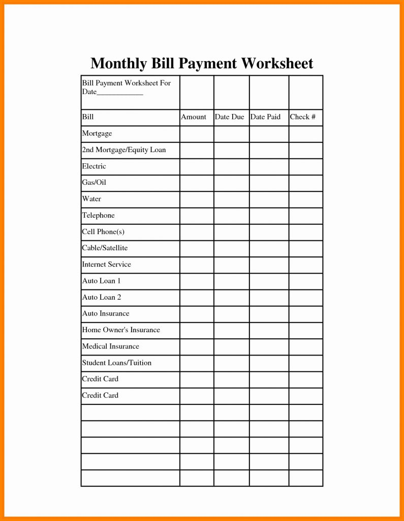 Monthly Bill Paying Organizer Template Home Bills Free Printable - Free Printable Monthly Bill Payment Worksheet