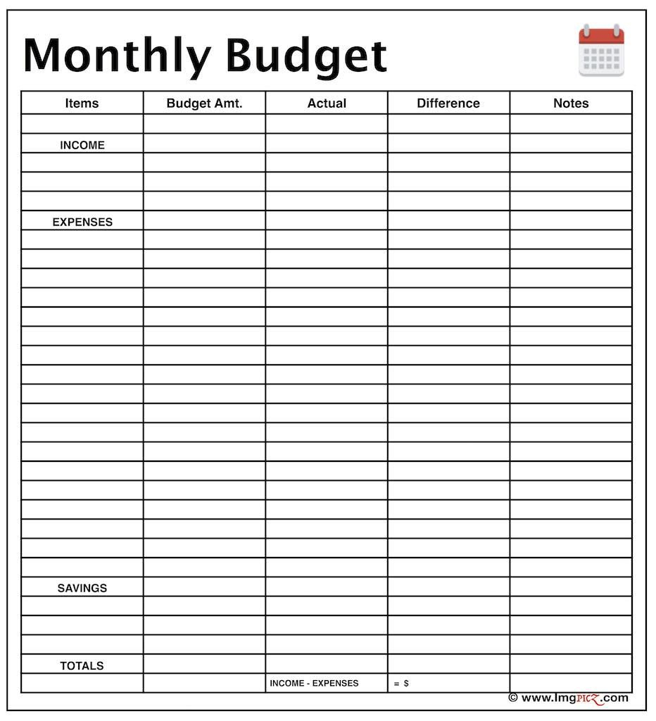 Monthly Income Budget Planner Template Free Excel Worksheet - Free Printable Monthly Bills Worksheet