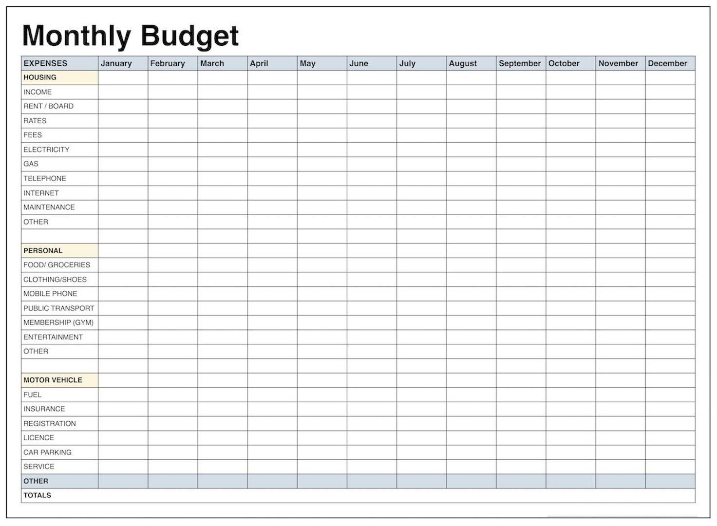 Monthly T Worksheet Free Template In Excel Youtube And Yearly - Free Printable Monthly Expense Sheet