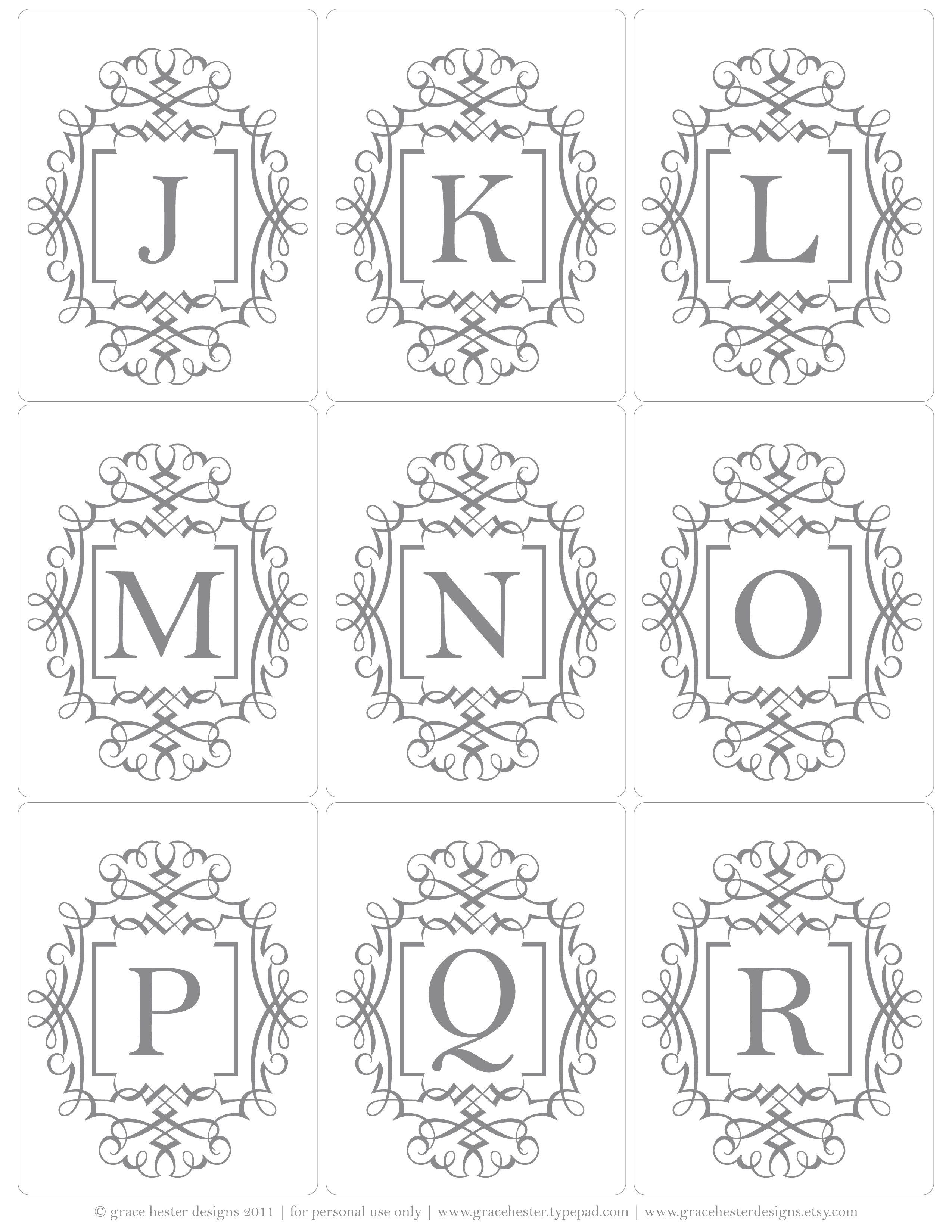 More Initial Tags J-R | Printables Christmas | Alphabet, Printables - Free Printable Monogram Letters