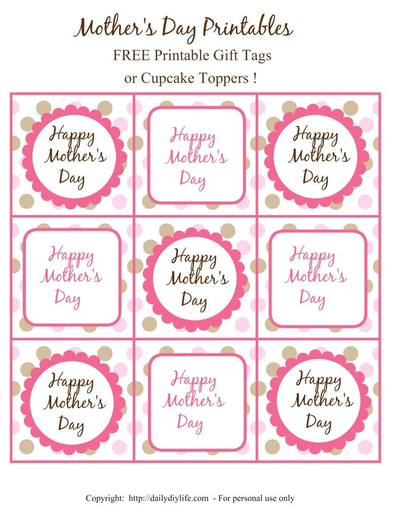 Mother's Day Free Printable Gift Tags Or Cupcake Toppers | Daily Diy - Free Printable Mothers Day Gifts