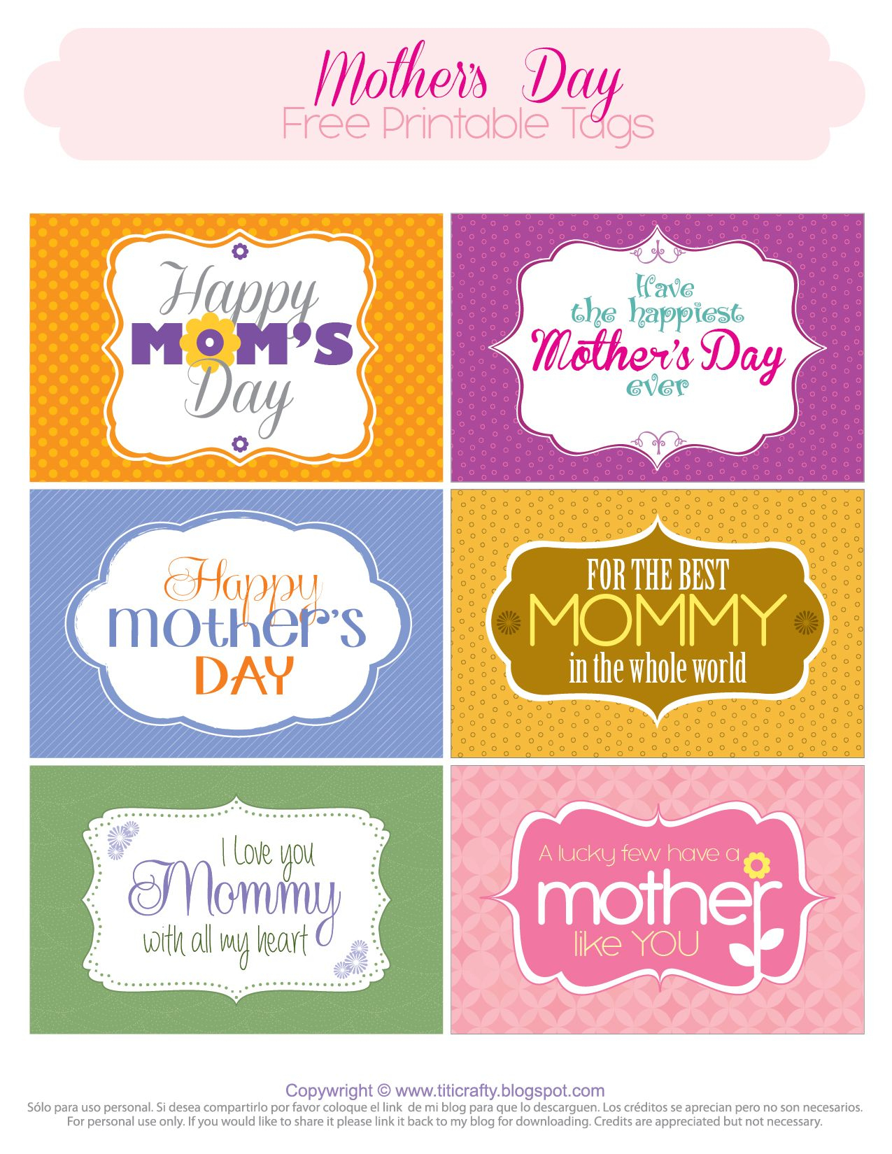 Mother's Day Free Printable Tags | Mother's Day And Grandmother - Free Printable Mothers Day Cards No Download