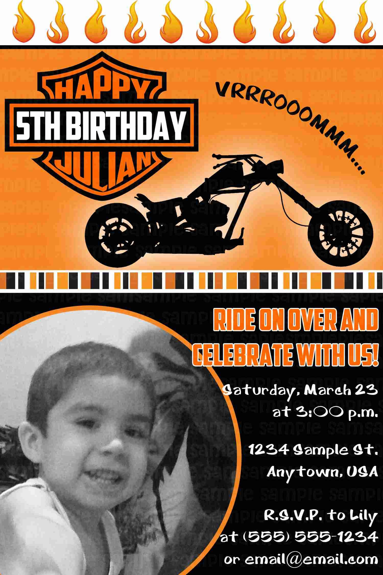 Motorcycle Biker Birthday Invitation $11 | Kids Birthday Invitations - Motorcycle Invitations Free Printable