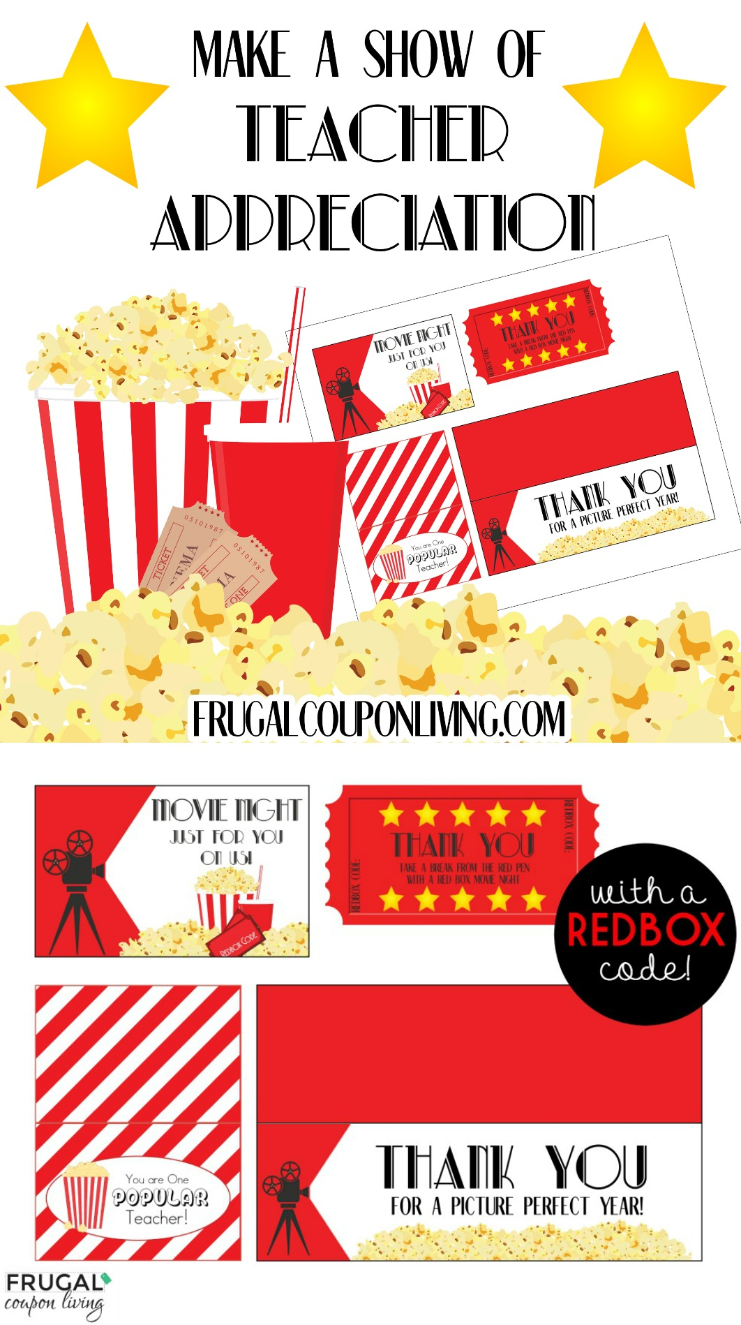 Movie Night Teacher Appreciation Gift With Free Printables - Free Popcorn Teacher Appreciation Printable