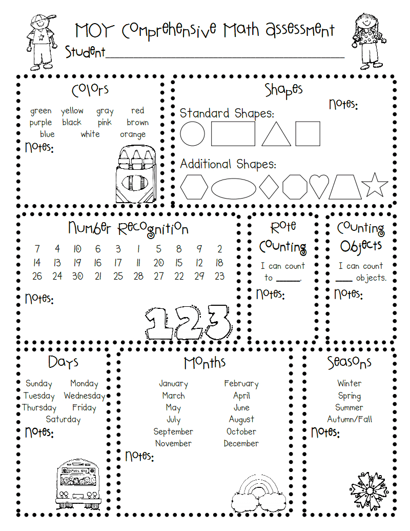 Moy Math Assessment.pdf   Classroom/ Teacher Stuff   Kindergarten - Free Printable Informal Math Assessments