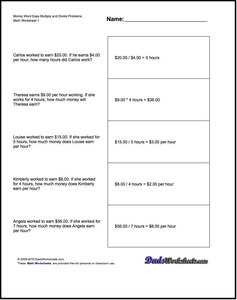 Multiplication Worksheet And Division Worksheet Money Word Problems - Free Printable Division Word Problems Worksheets For Grade 3