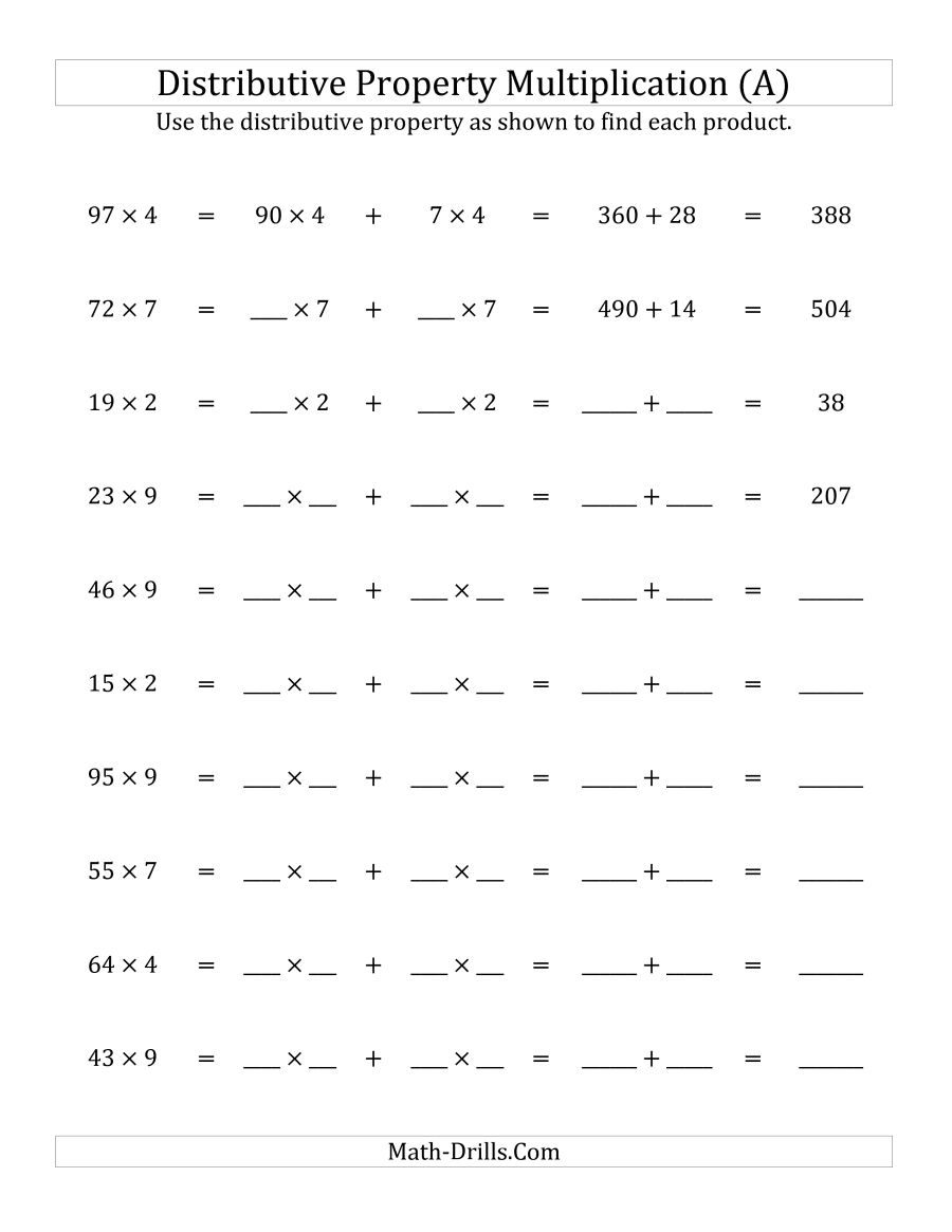 Multiply 2-Digit1-Digit Numbers Using The Distributive Property (A) - Free Printable Distributive Property Worksheets