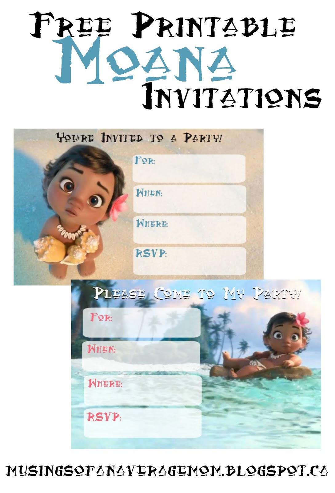 Musings Of An Average Mom: Free Printable Moana Invitations - Free Moana Printable Invitations