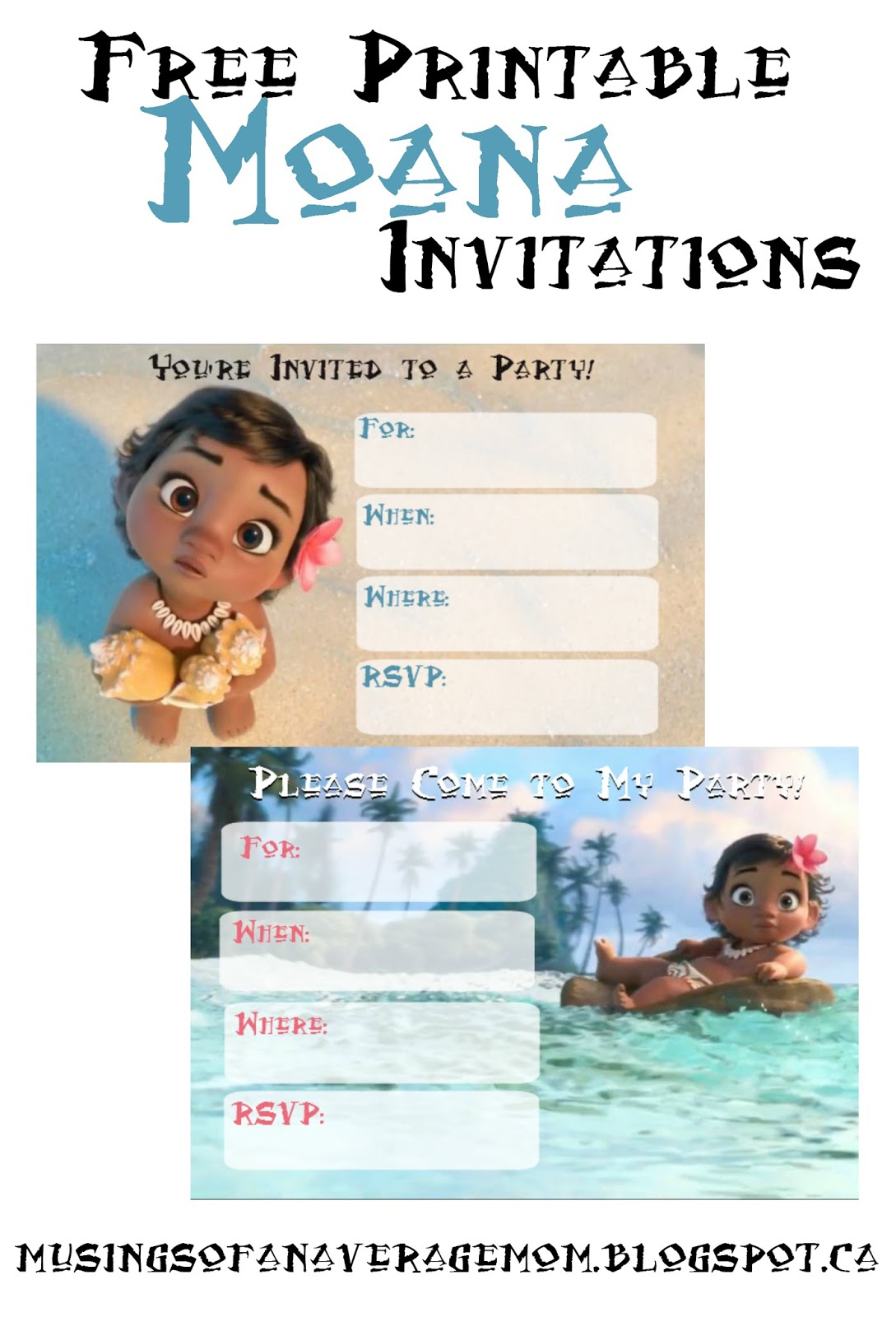 Musings Of An Average Mom: Free Printable Moana Invitations - Free Printable Moana Birthday Invitations