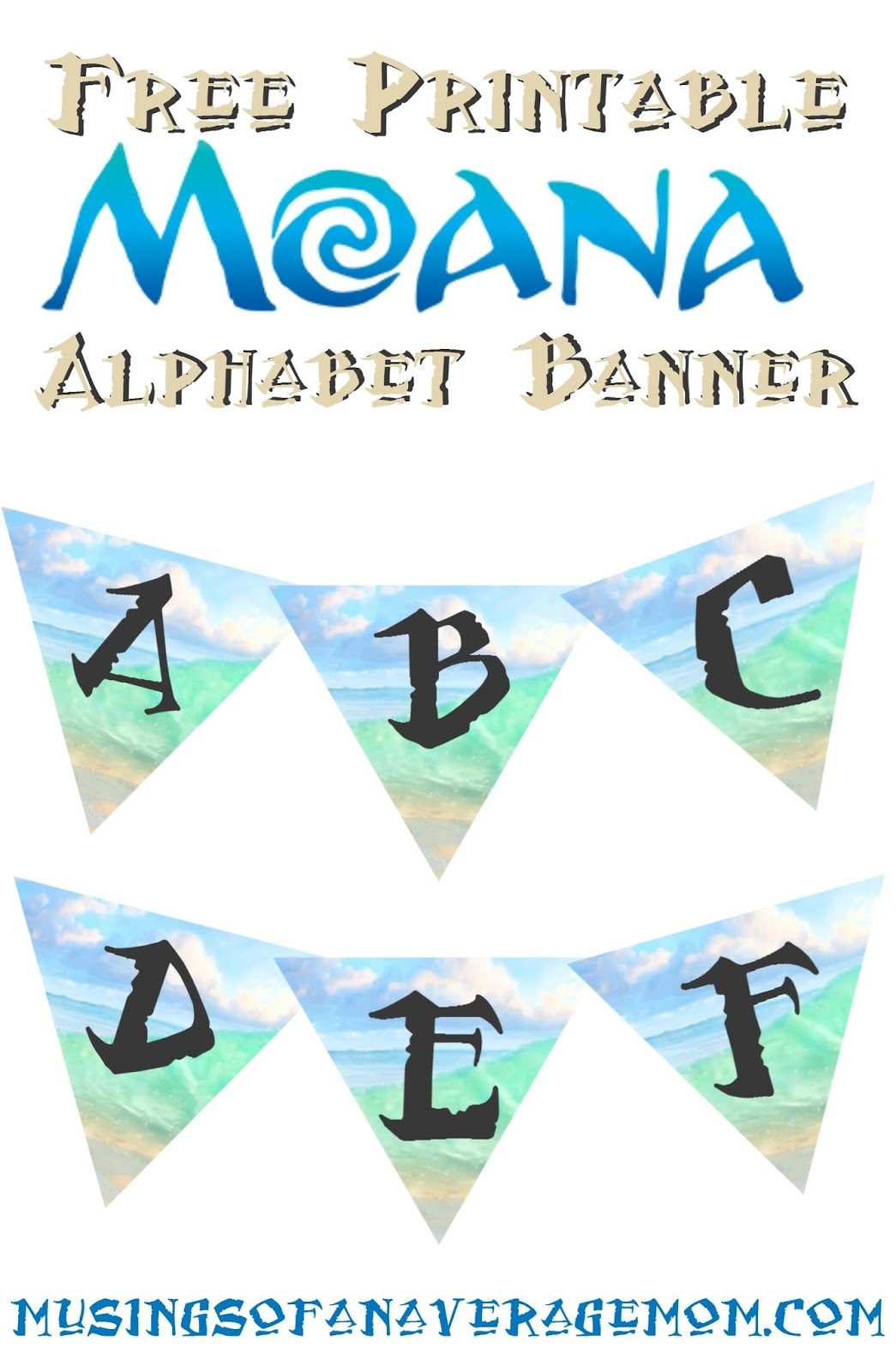 Musings Of An Average Mom: Moana Alphabet Banner - Free Printable Moana Banner