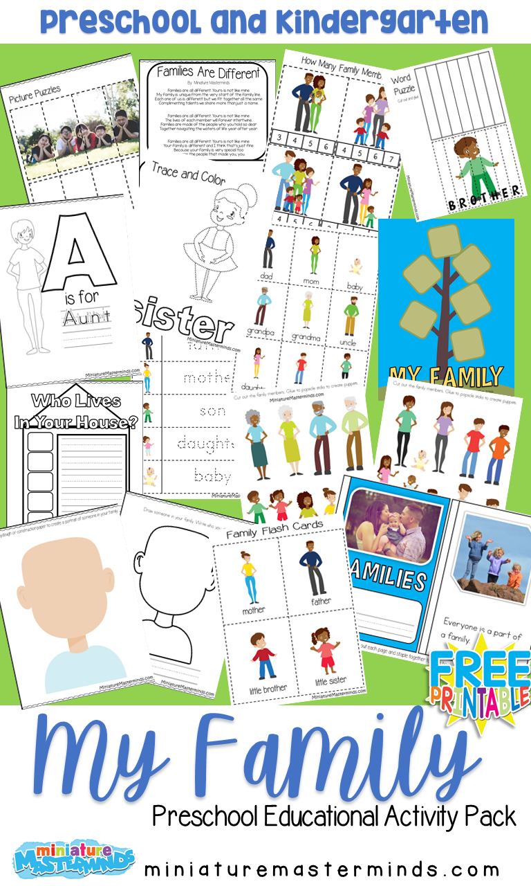 My Family Free Printable Preschool Activity Pack | All About Me - Free Printable Preschool Teacher Resources