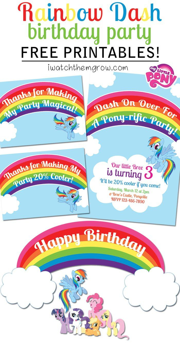 My Little Pony Rainbow Dash Birthday Party Printables | Party Ideas - Free Printable My Little Pony Thank You Cards