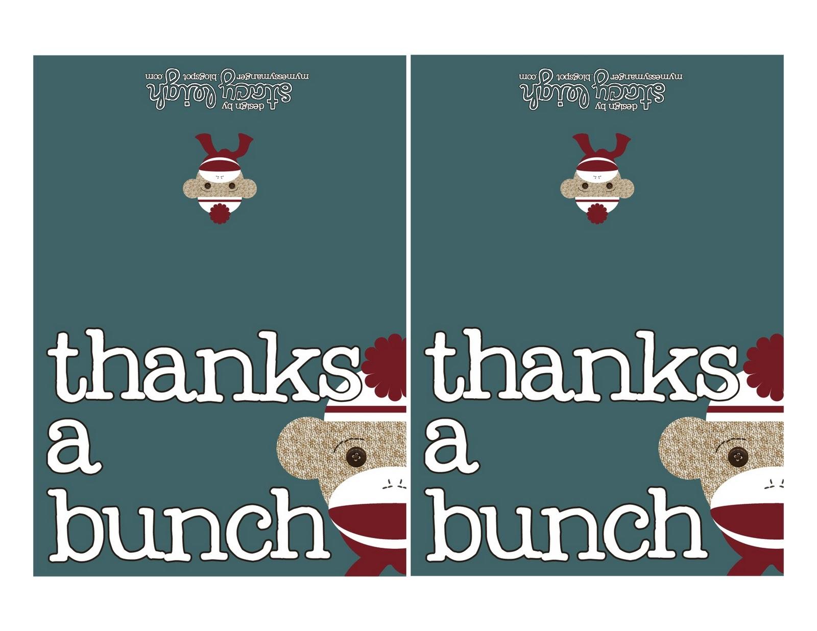 My Messy Manger: Free Sock Monkey Birthday Printables: Thank You Cards - Free Printable Sock Monkey Pictures