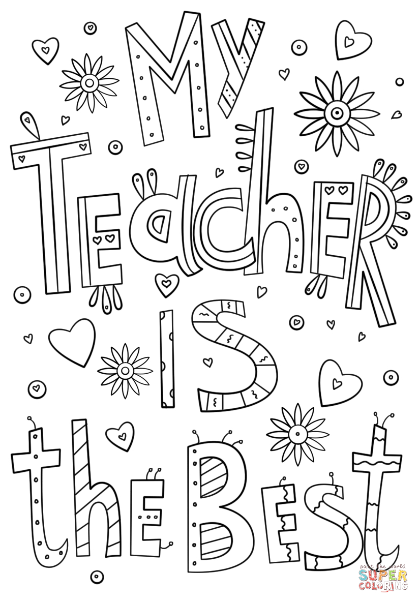 My Teacher Is The Best Doodle Coloring Page | Free Printable - Free Printable Teacher Appreciation Cards To Color