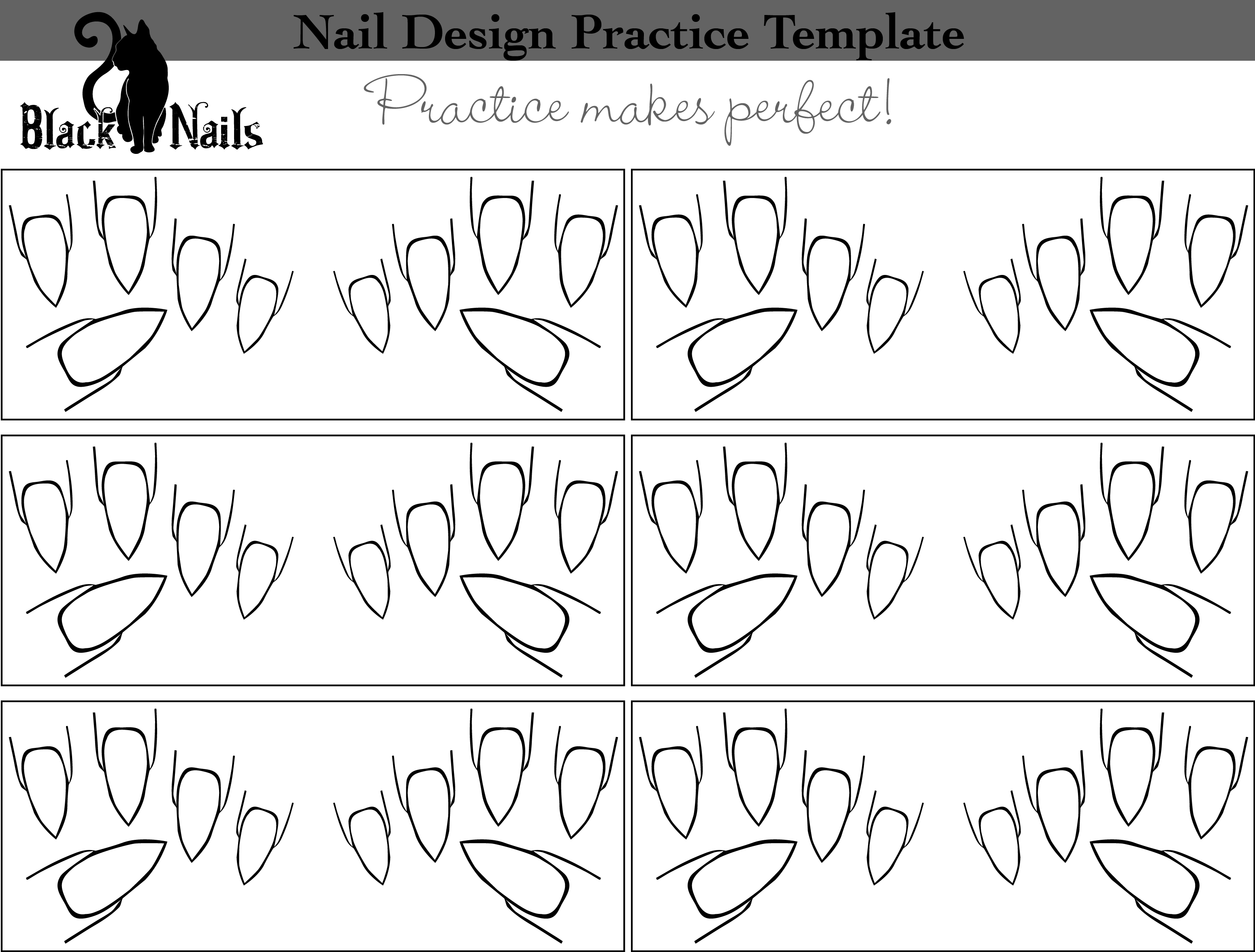 Nail Art Design Practice Templates Or Sheets - All Versions | Black - Free Printable Nail Art Designs