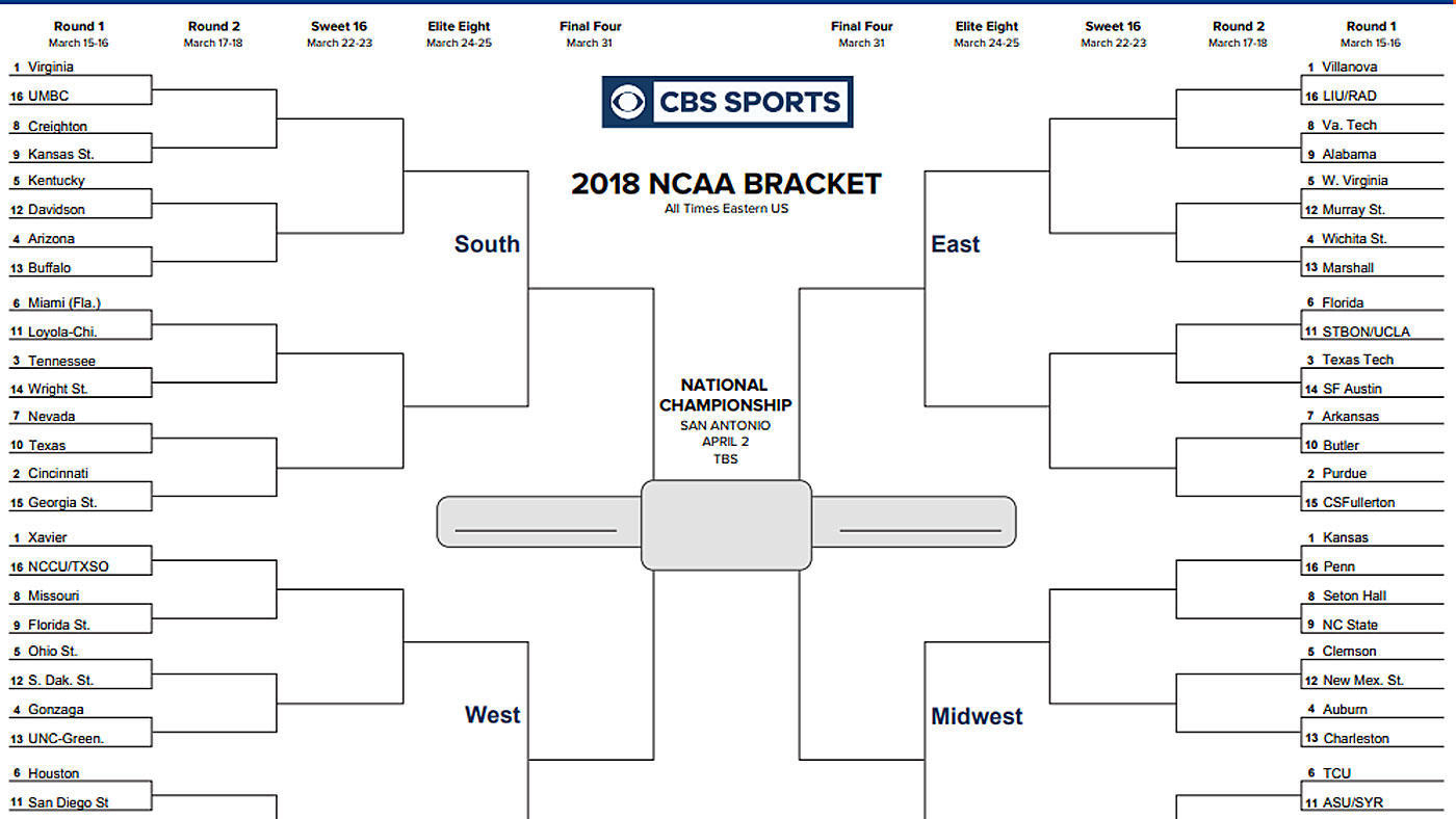 Ncaa Bracket 2018: Printable March Madness Tournament Bracket, Seeds - Free Printable Brackets Ncaa Basketball