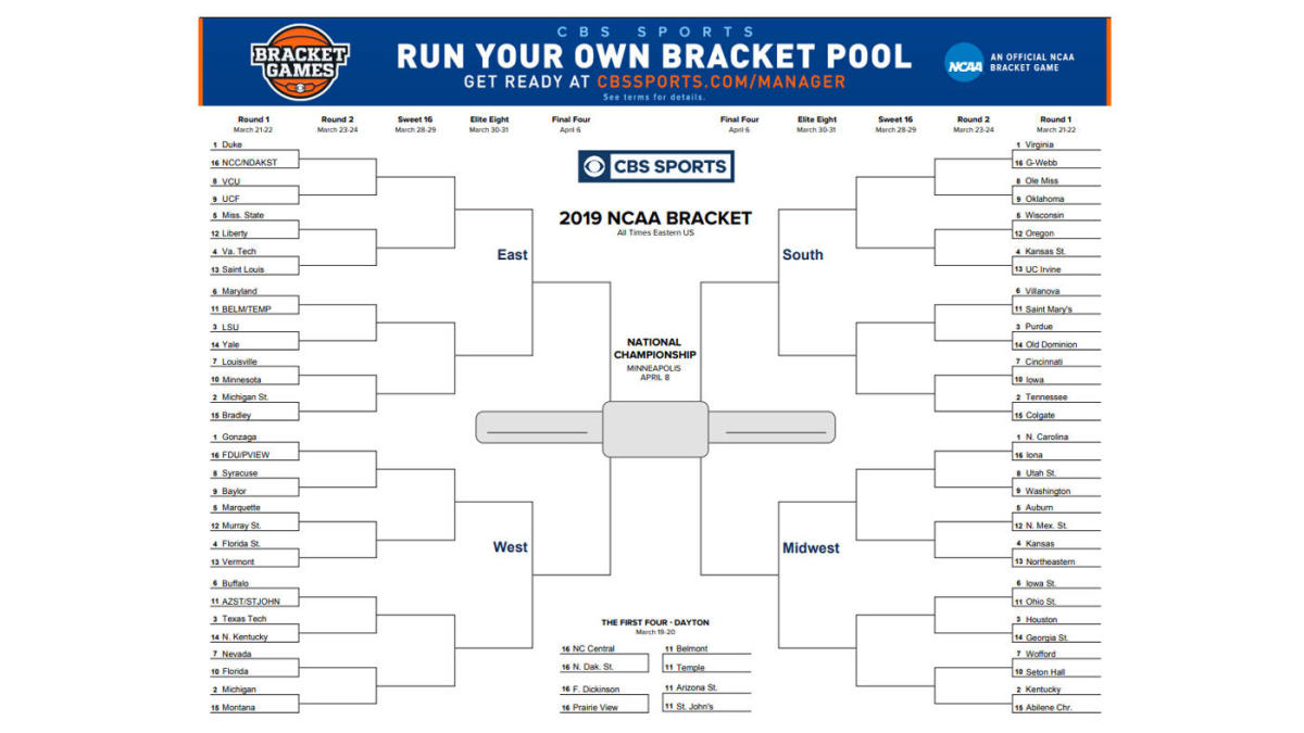 Ncaa Bracket 2019: Printable March Madness Bracket, Ncaa Tournament - Free Printable Brackets Ncaa Basketball