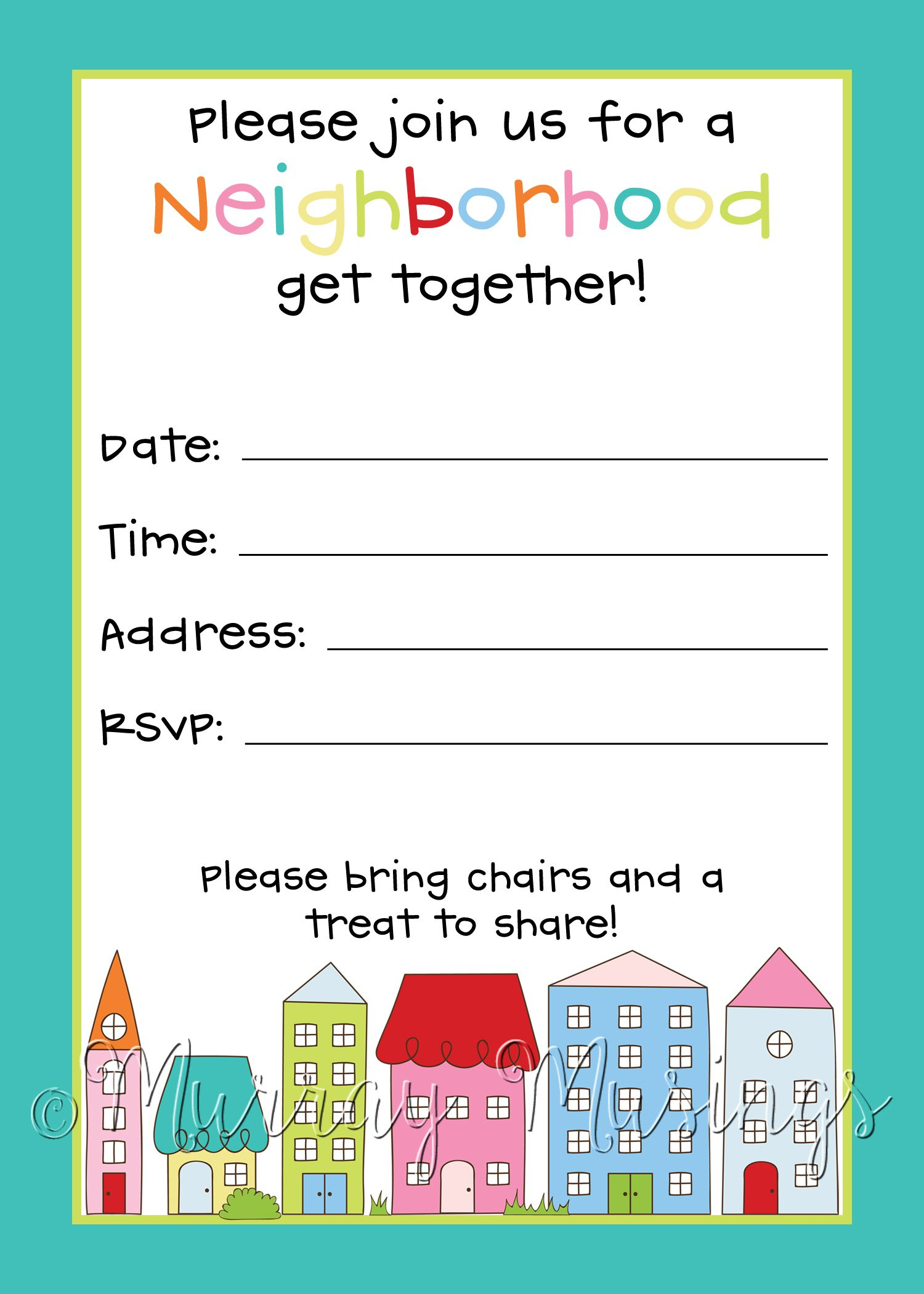 Neighborhood Block Party Invitation #freeprintable | Free Printables - Play Date Invitations Free Printable