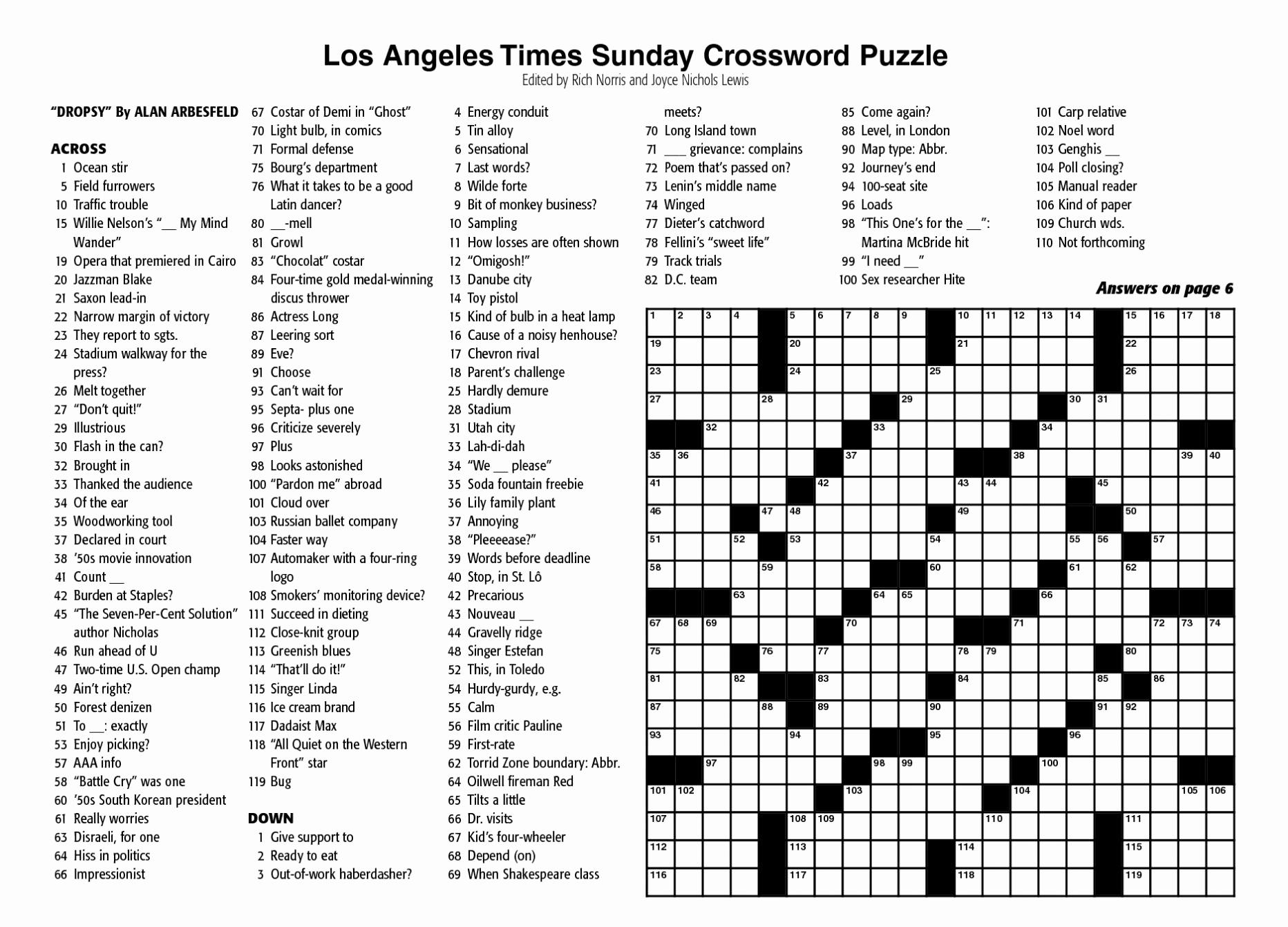 New York Times Sunday Crossword Printable – Rtrs.online - Free Printable Ny Times Crossword Puzzles