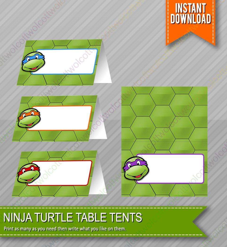 Ninja Turtles Birthday Food Table Tents Cards Blank Instant   Etsy - Free Printable Tmnt Food Labels