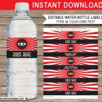 Ninja Water Bottle Labels Template | Ninja Theme Birthday Party   Free Printable Paris Water Bottle Labels