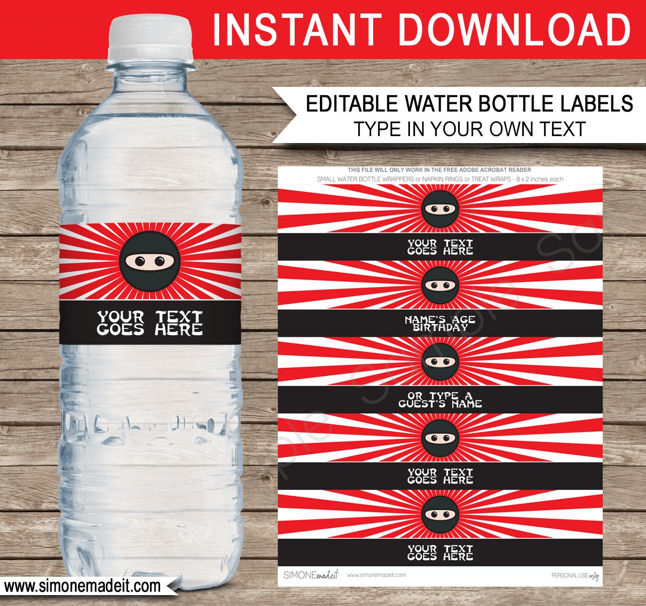 Ninja Water Bottle Labels Template   Ninja Theme Birthday Party - Free Printable Paris Water Bottle Labels