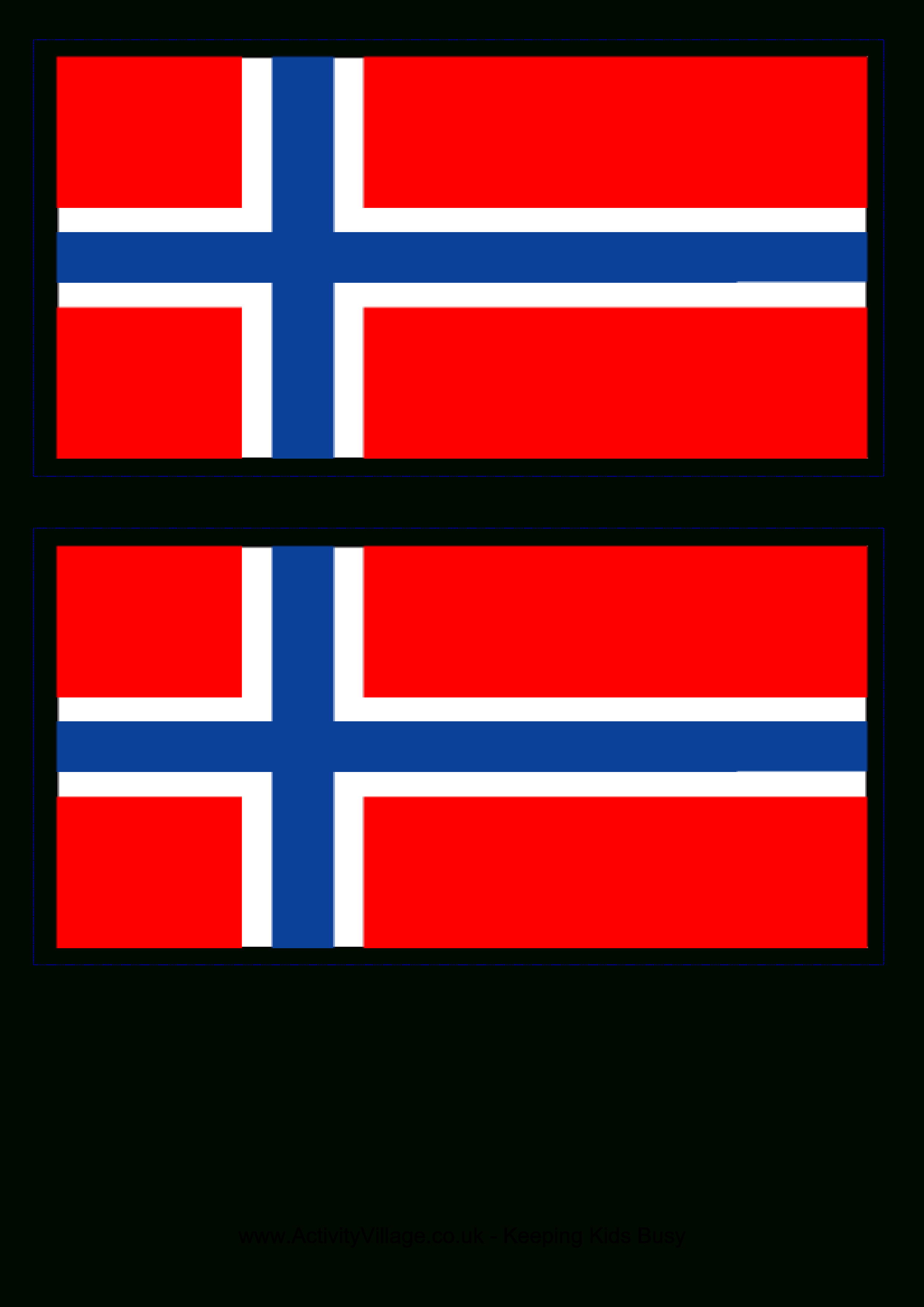 Norwegian Flag - Download This Free Printable Norwegian Template A4 - Free Printable Pictures Of Flags Of The World