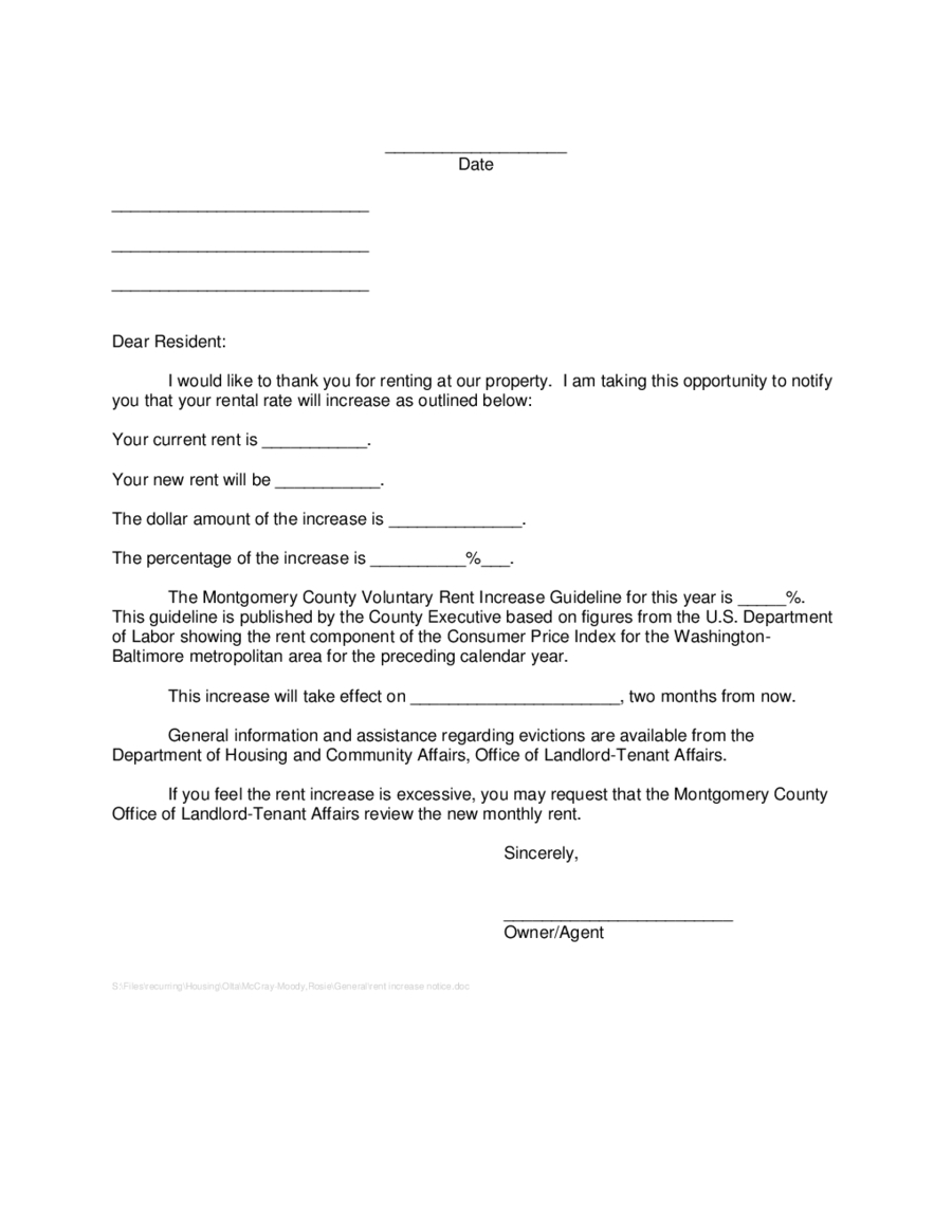 Notice Of Increase In Rent - Rehau.hauteboxx.co - Free Printable Rent Increase Letter