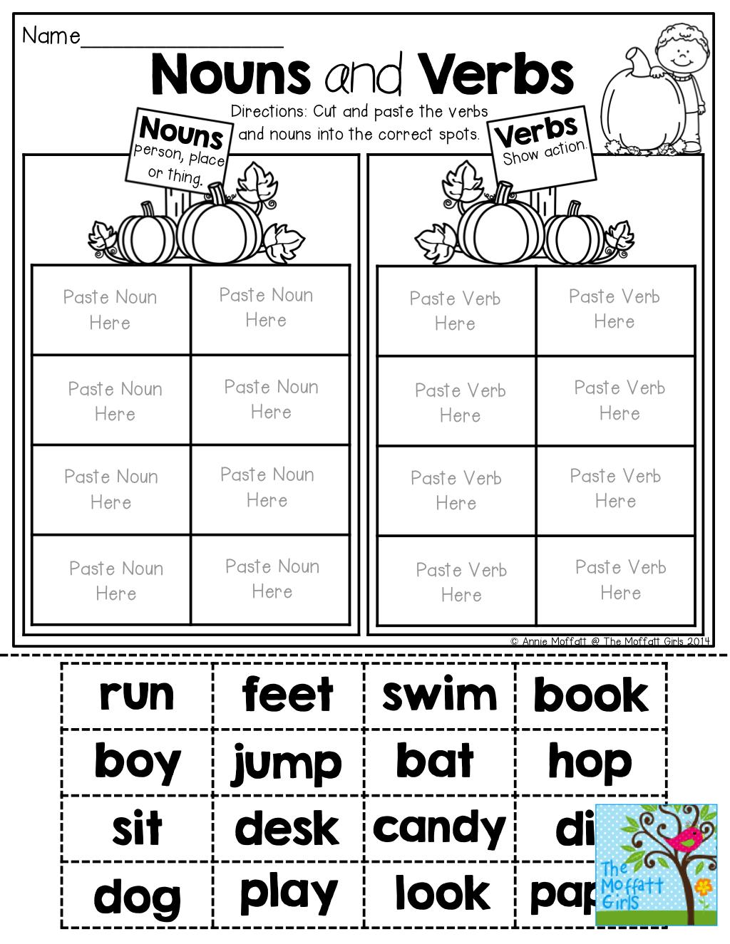 Nouns And Verbs (Sorting) Tons Of Fun Printables! | Write~Nouns - Free Printable Verb Worksheets