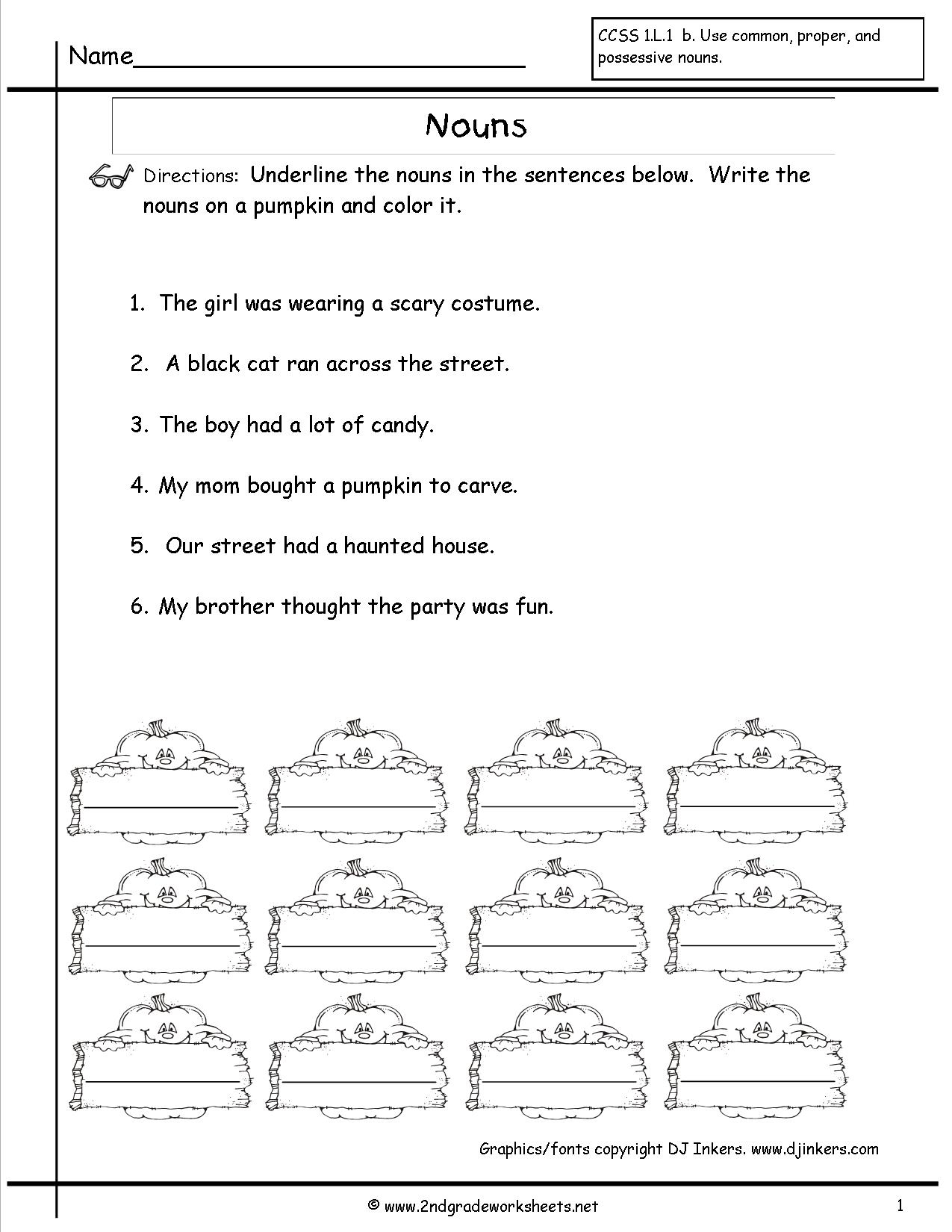 Nouns Worksheets And Printouts - Free Printable Verb Worksheets