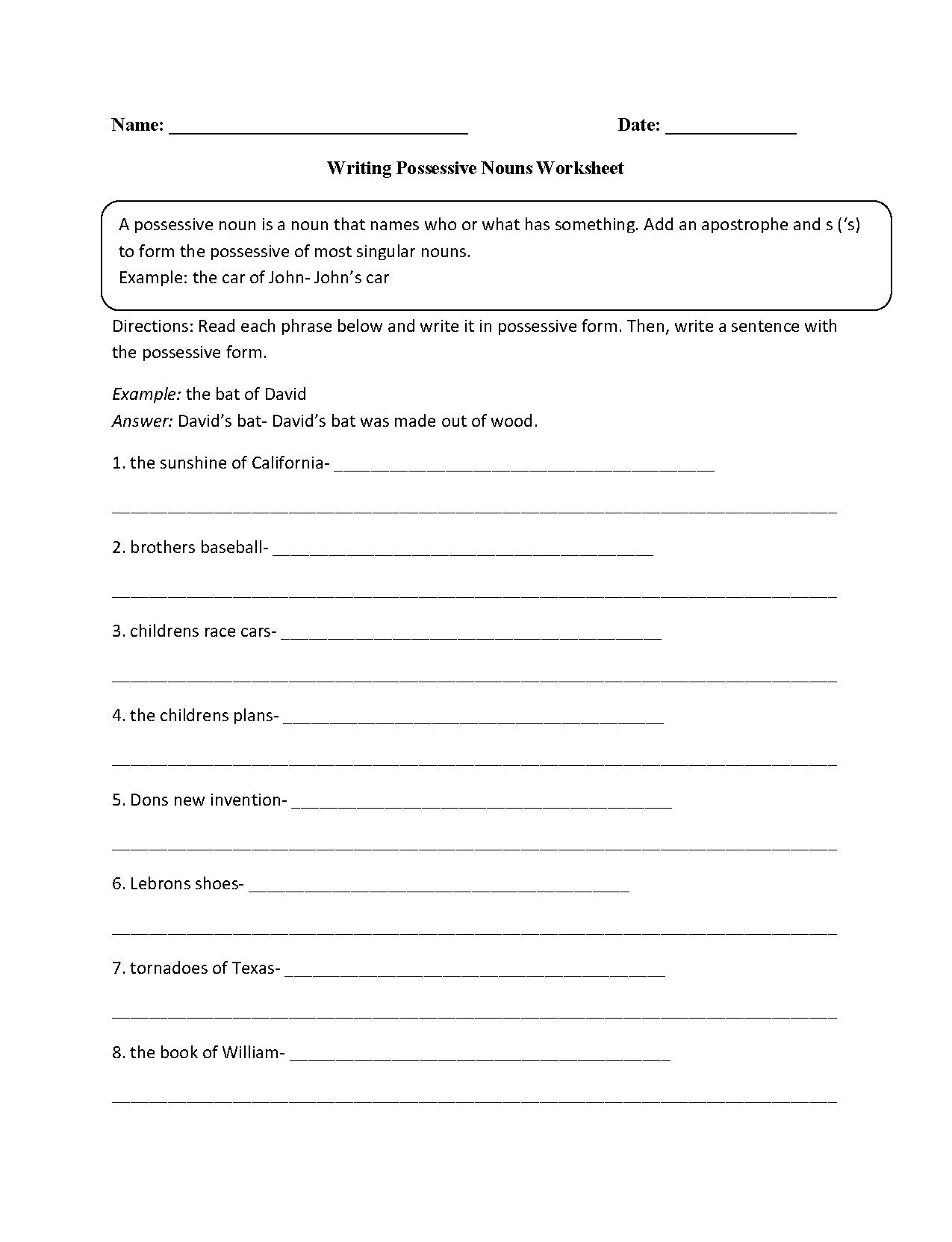 Nouns Worksheets   Possessive Nouns Worksheets - Free Printable Possessive Nouns Worksheets